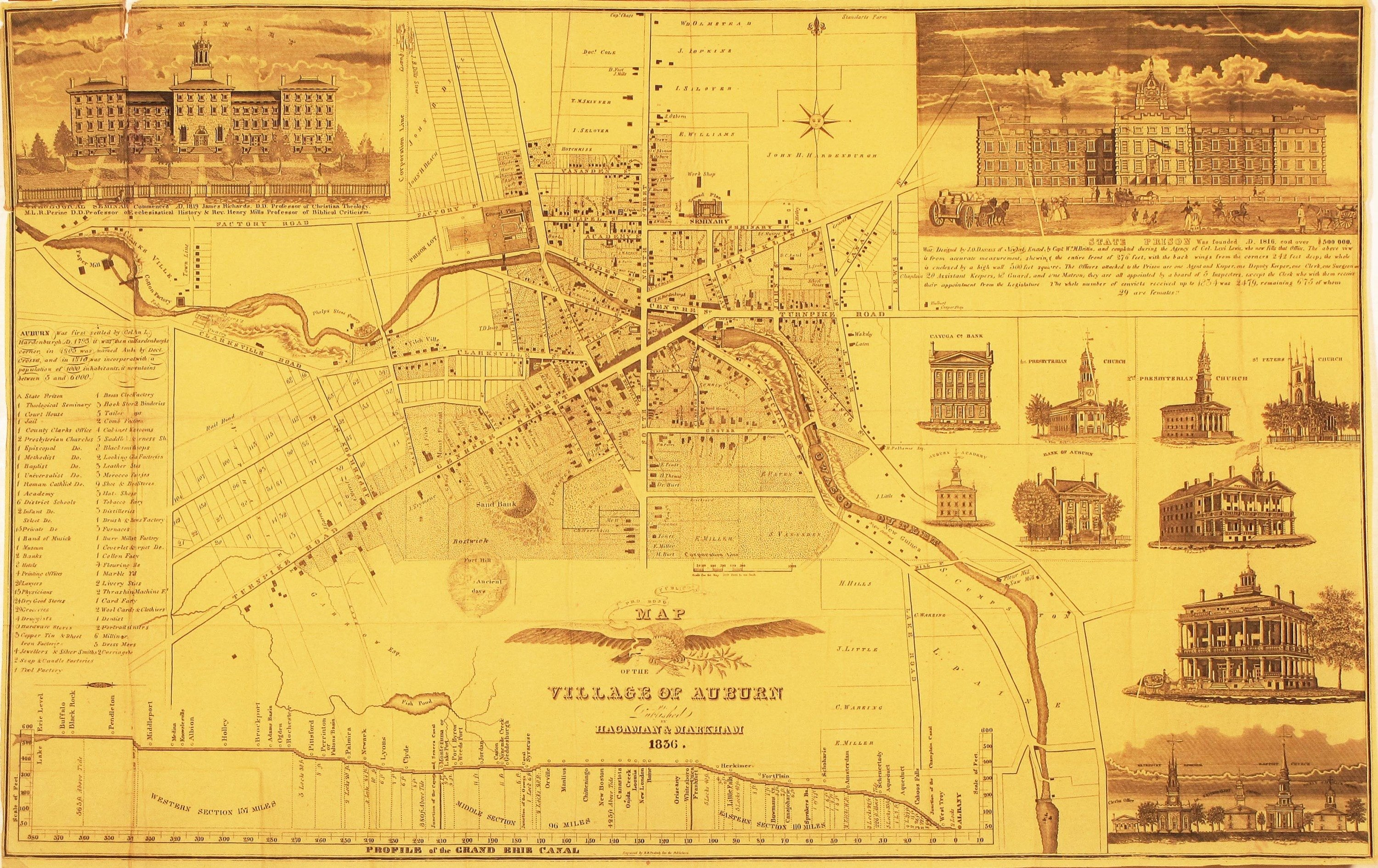 A beautiful map of Auburn New York in an unrecorded state Rare