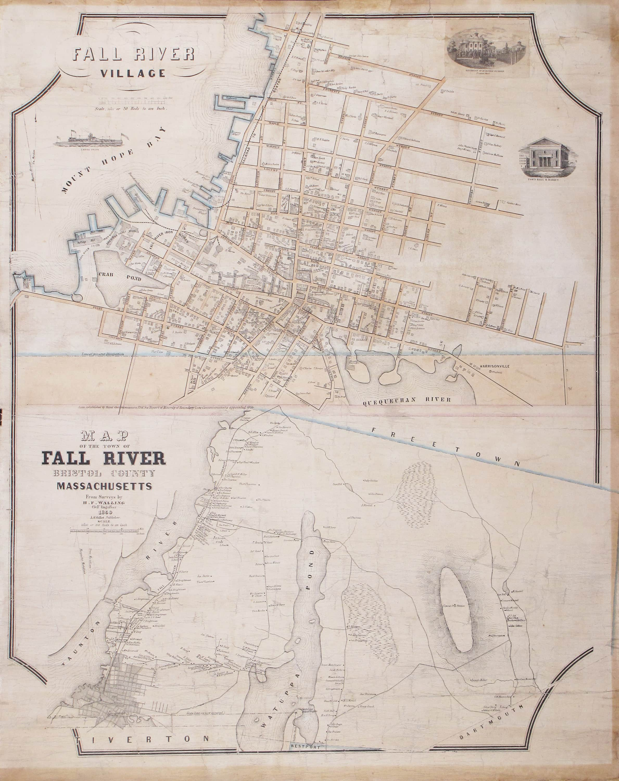 An early and very rare map of Fall River Mass Rare Antique Maps