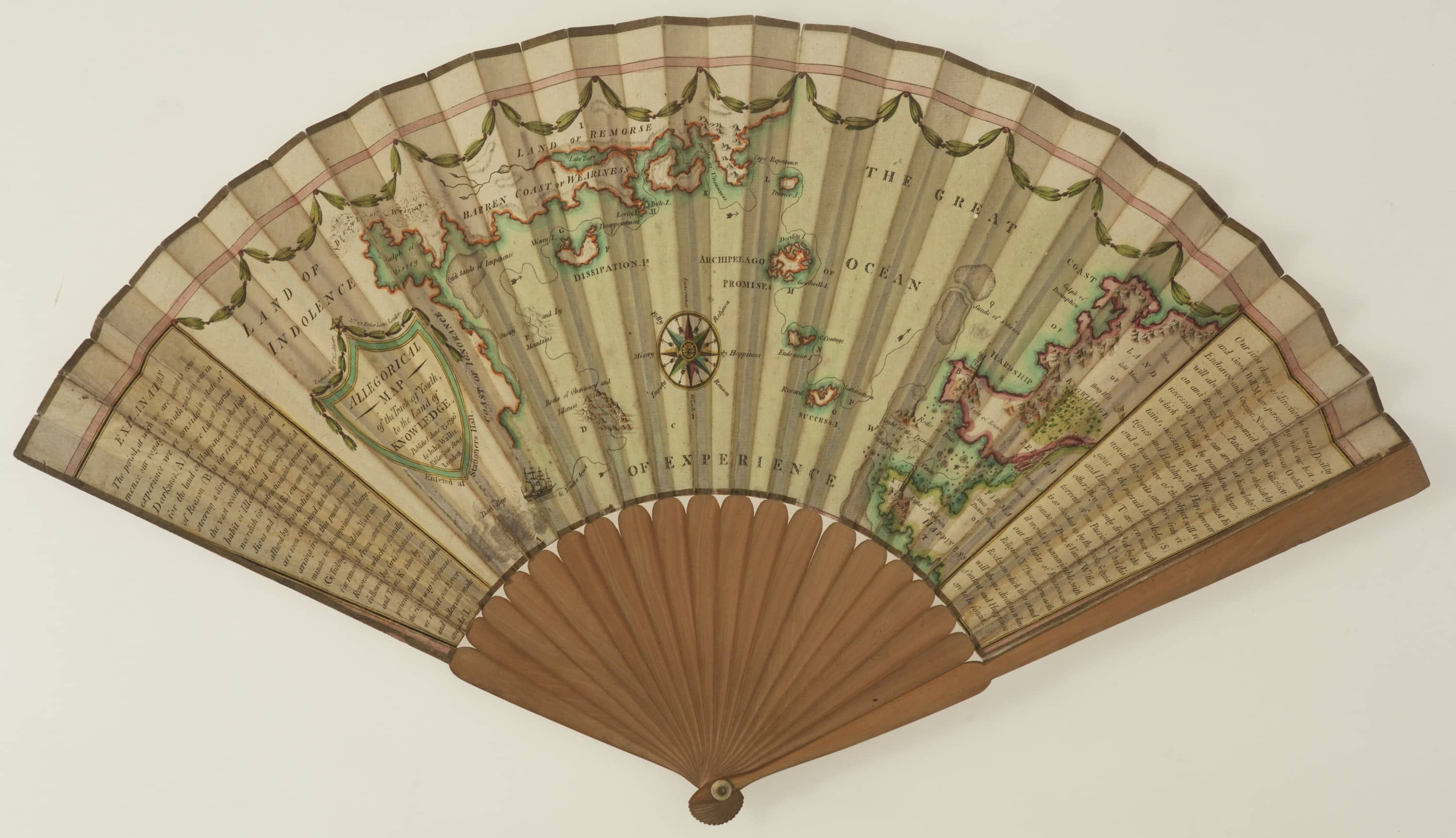 Charming allegorical map on a hand fan - Rare & Antique Maps