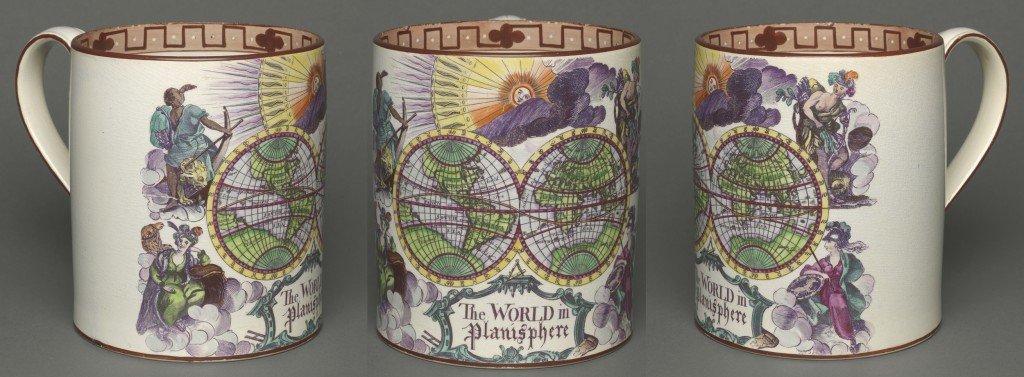 "A superb ""cartifact"" bearing a double-hemisphere world map"