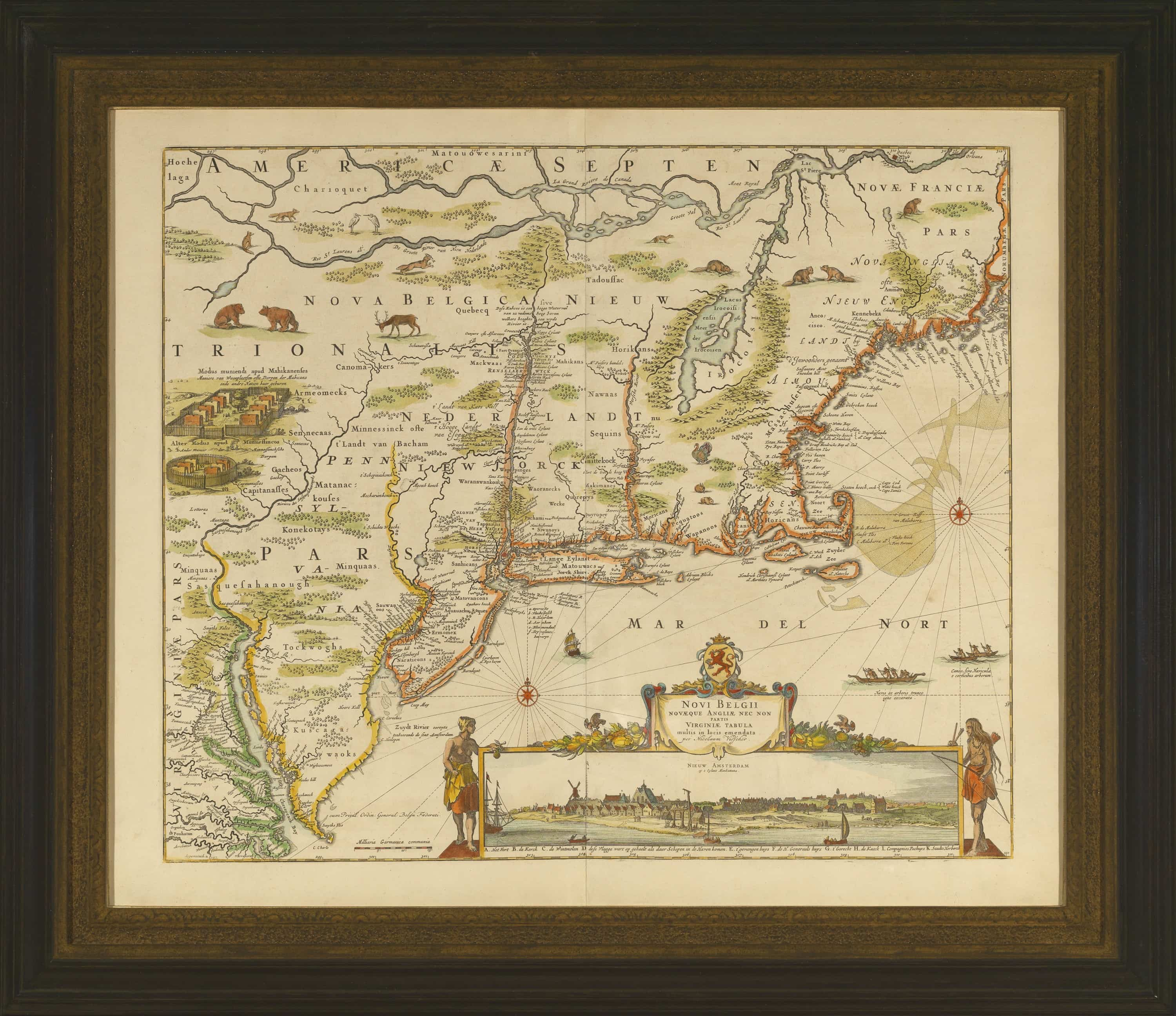 Beautiful example of an iconic map of the Northeast from 1684 Rare