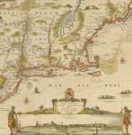 Nicholas Visscher, NOVI BELGII NOVAEQUE ANGLIAE NEC NON PARTIS VIRGINIAE TABULA…. [Amsterdam, ca. 1684.]