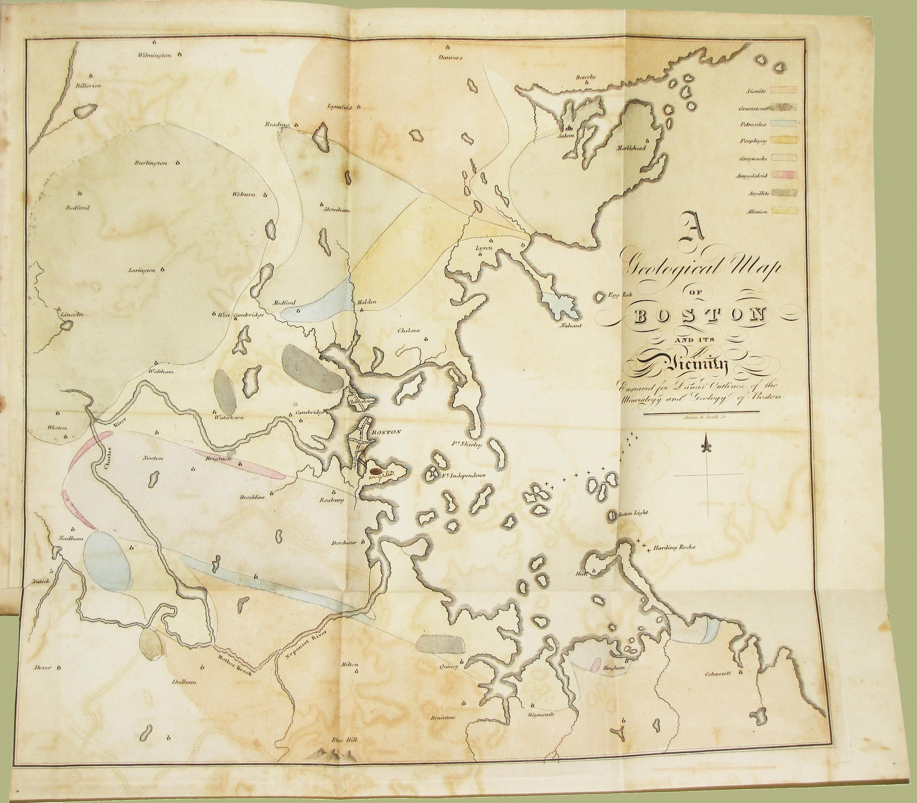 The First Geological Map Of The Boston Area Rare  Antique Maps - Map of boston vicinity