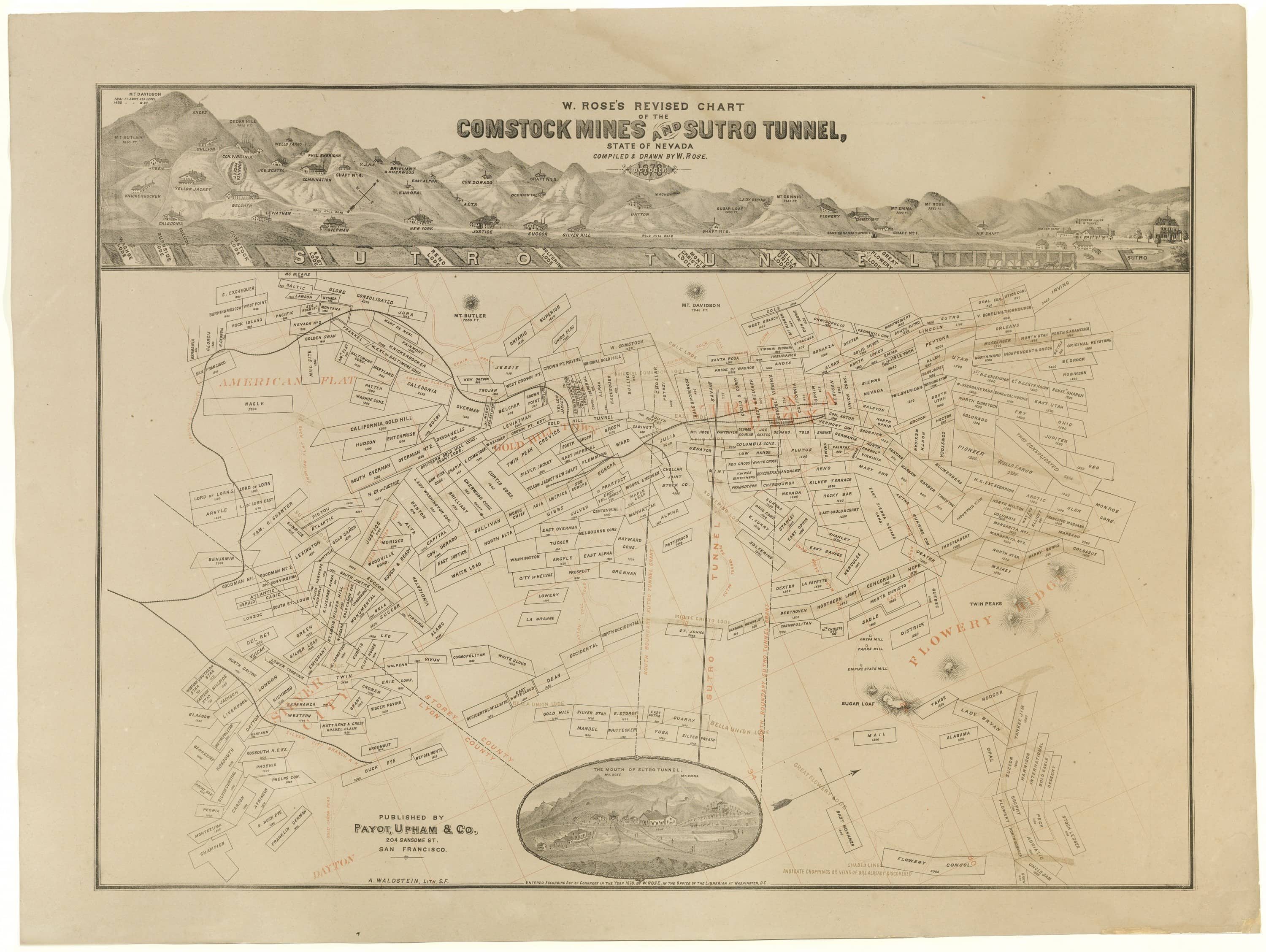 Map Of The Comstock Mines And Sutro Tunnel Rare Antique Maps