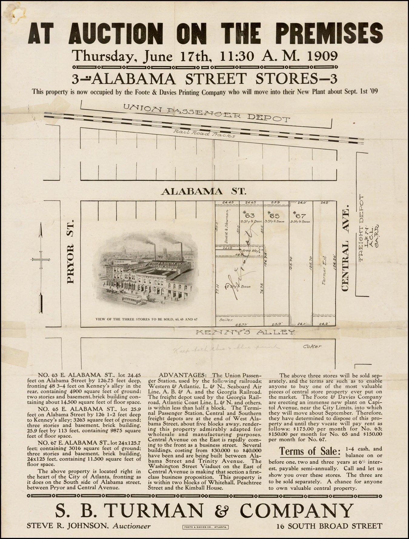 Rare and appealing broadside for downtown Atlanta real estate - Rare Downtown Atlanta Map on