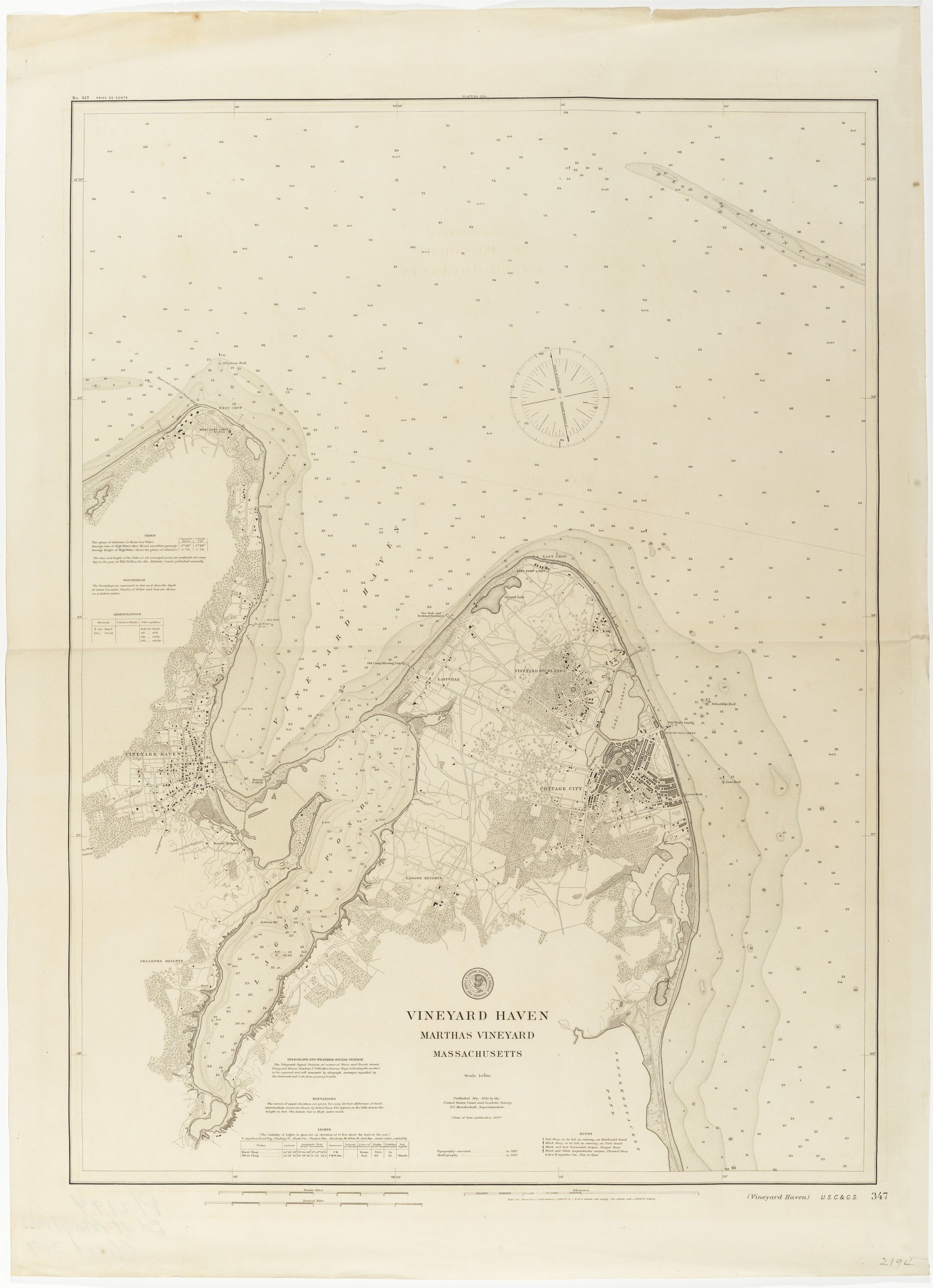 U S Coast Survey Chart Of Vineyard Haven Massachusetts Rare