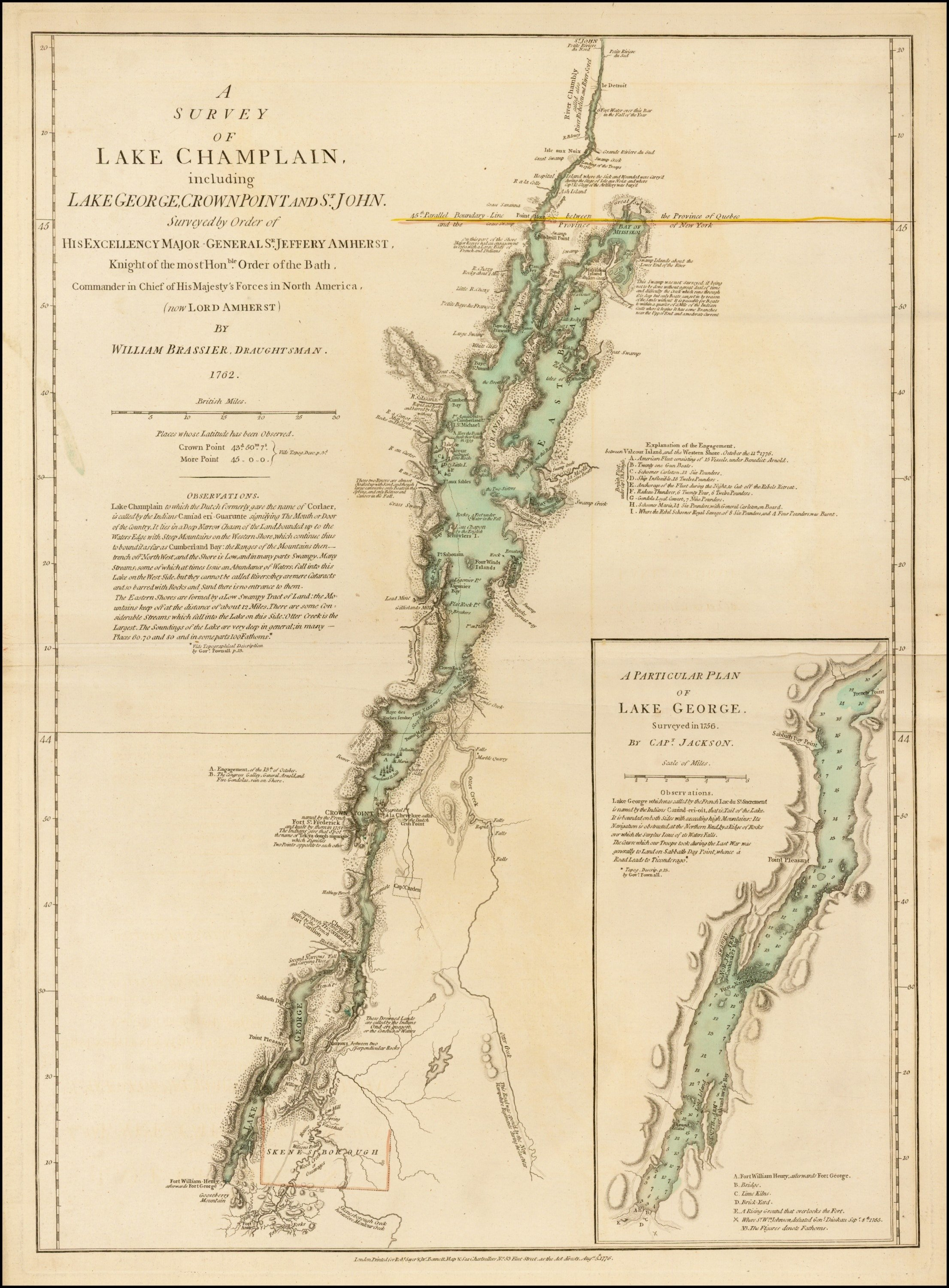 The First Printed Map Of Lake Champlain Used By Burgoyne Rare - Lake champlain on us map
