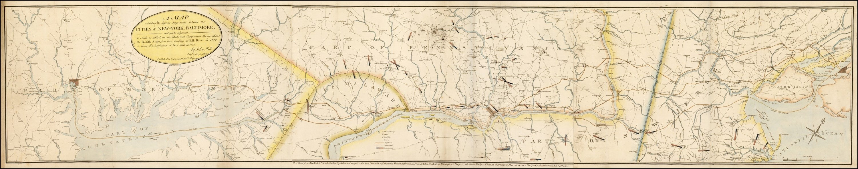 An Early And Very Rare Map American Road Map