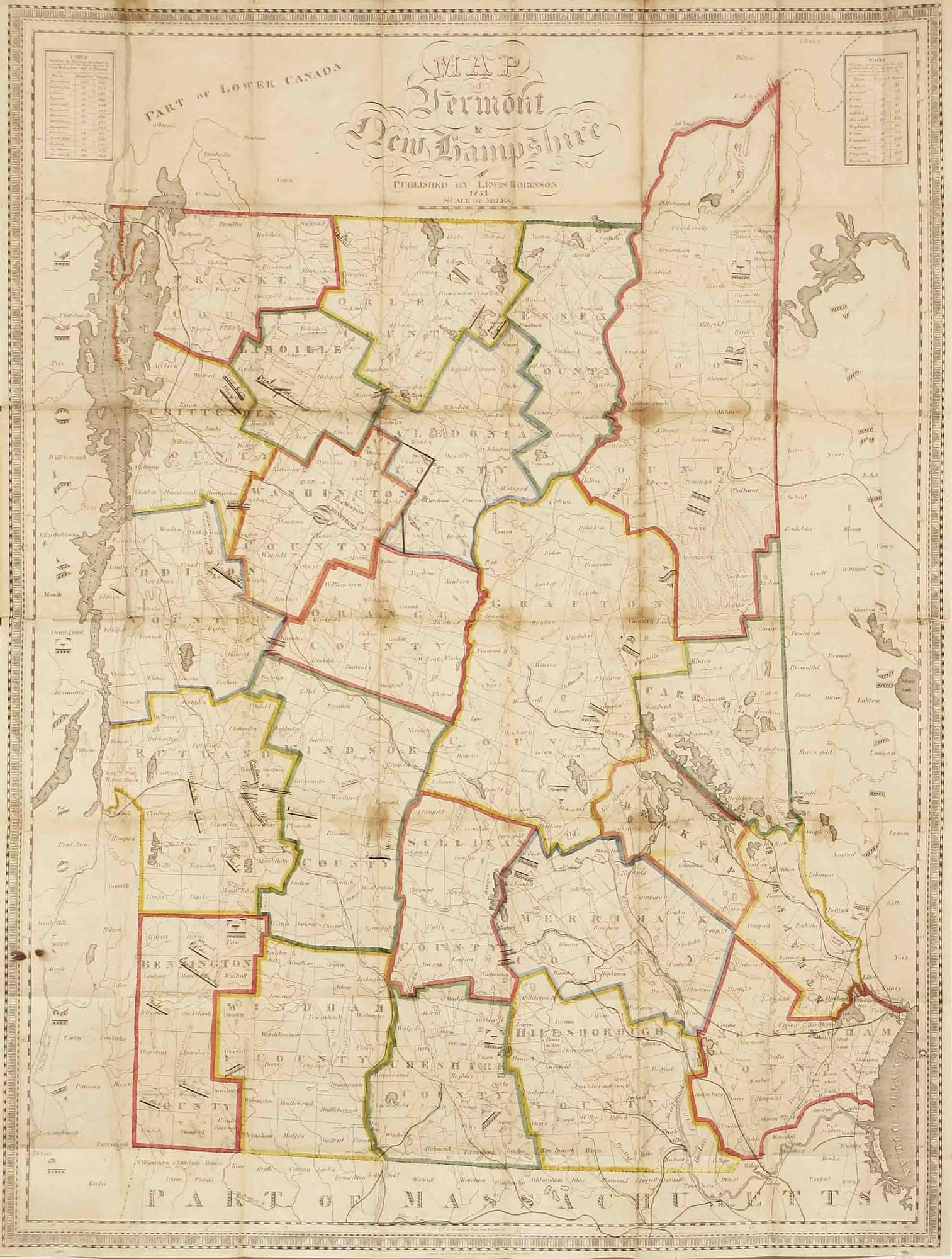 Unrecorded state of Lewis Robinson\'s first map, with interesting ...