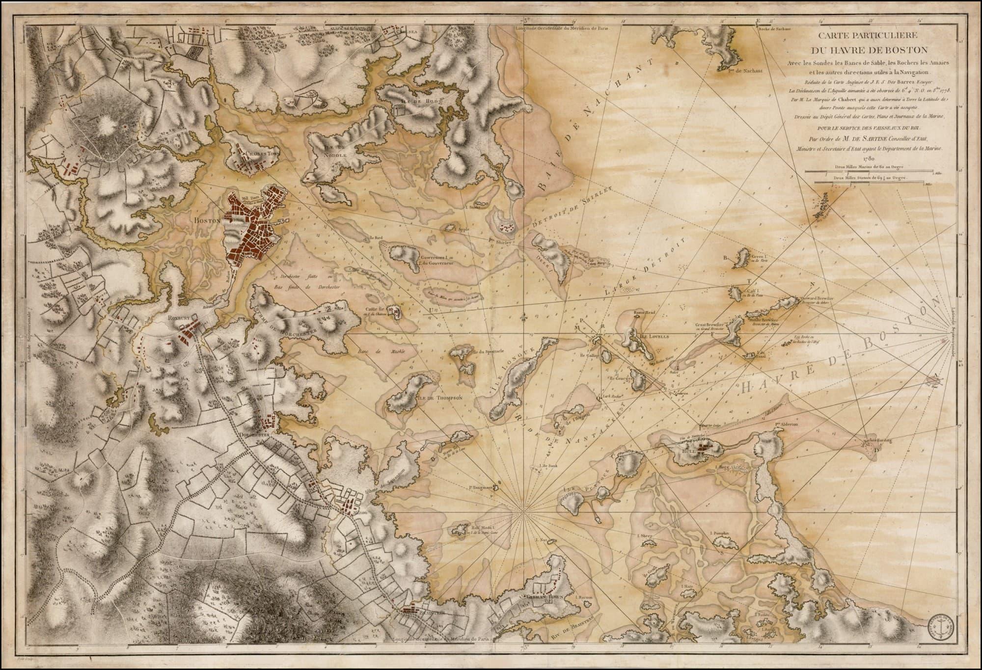 French Revolutionaryera chart of Boston Harbor updating des Barres