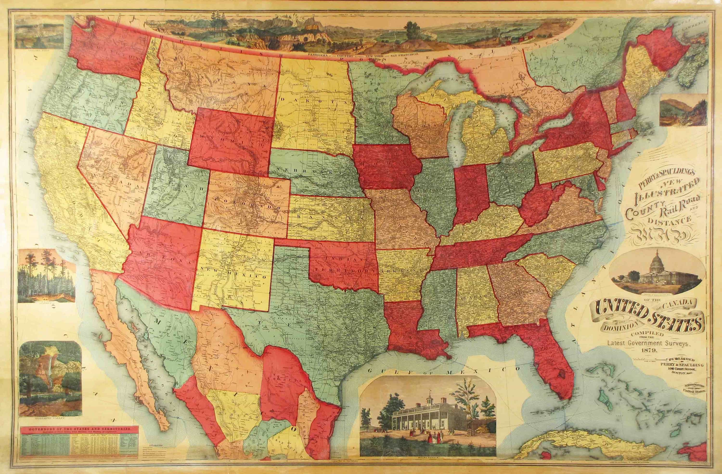 Unrecorded Variant Of A Lovely Wall Map Of The US Rare - Change map of 1968 us