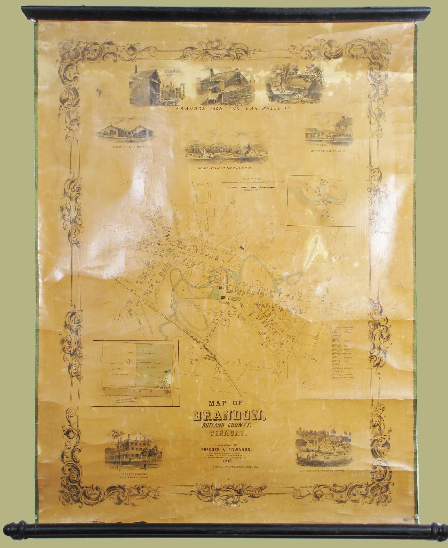 Exceedingly rare wall map of Brandon, Vermont - Rare & Antique Maps