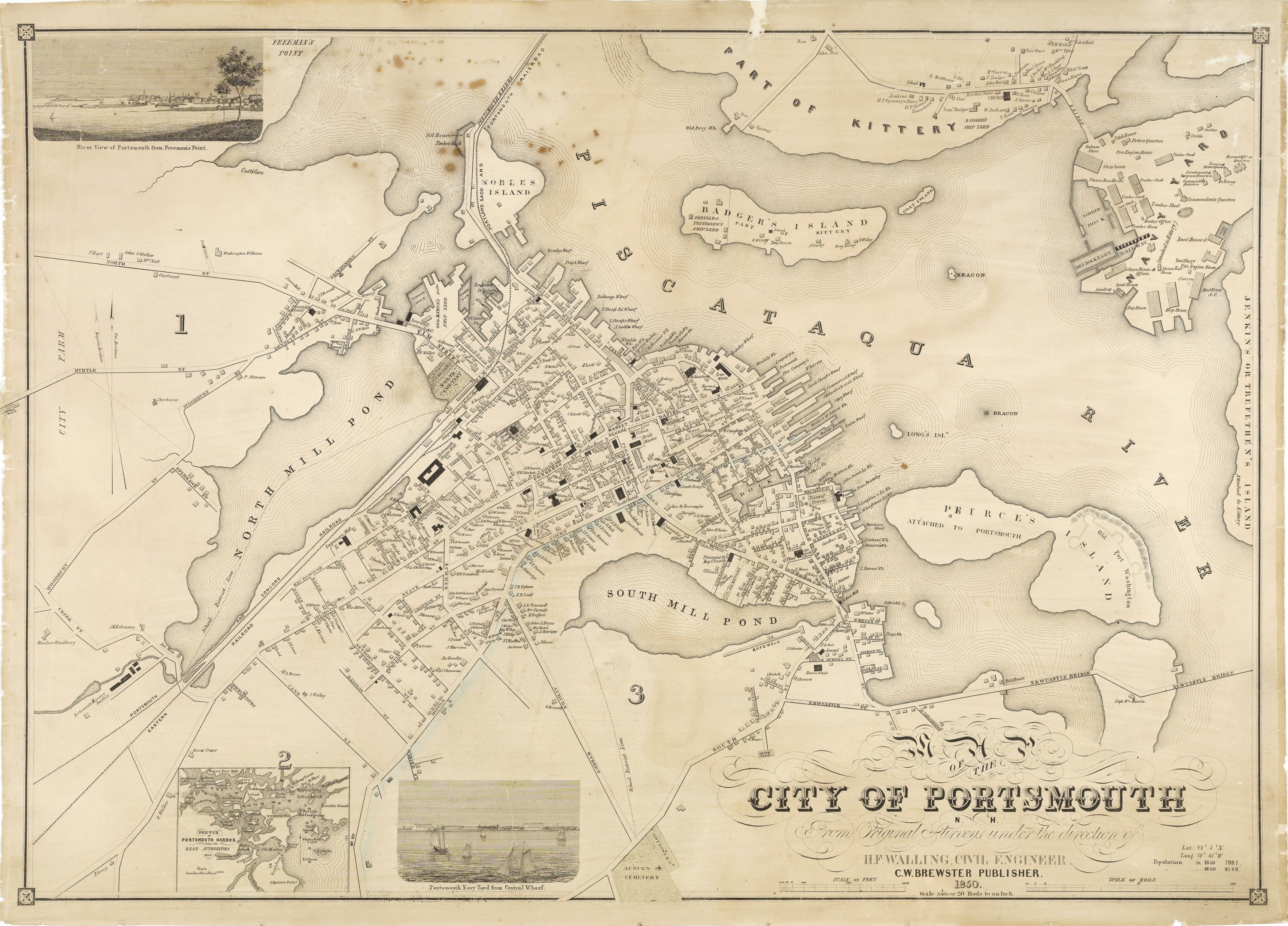 Scarce Wall Map Of Portsmouth New Hampshire Rare Antique Maps - New hampshire city map