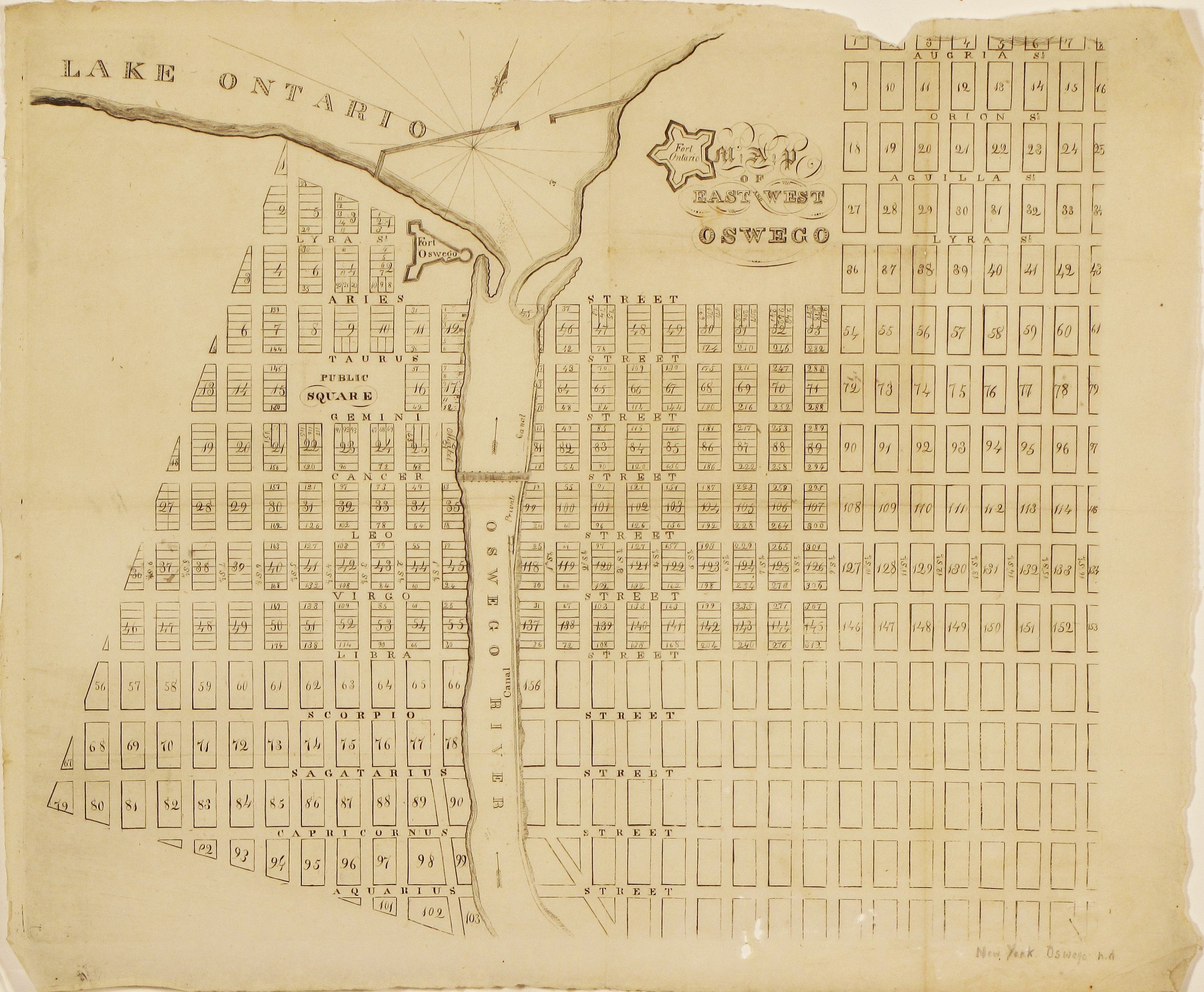 Map Of New York Oswego.The First Printed Plan Of Oswego New York Rare Antique Maps