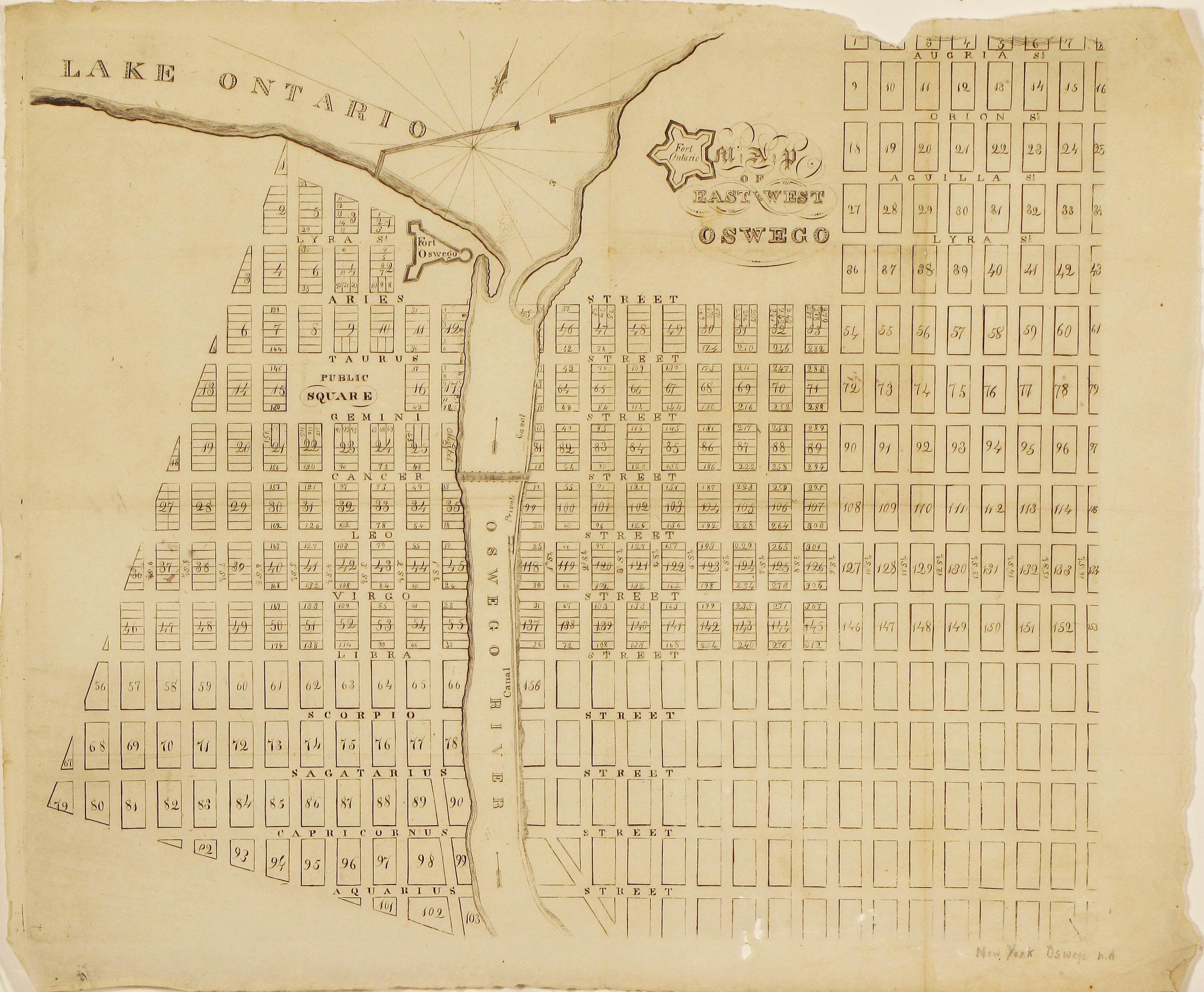 The First Printed Plan Of Oswego  New York