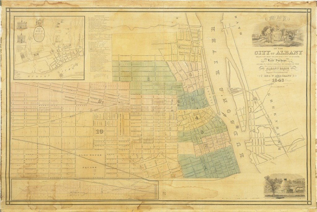 An Early Wall Map Of Albany  New York