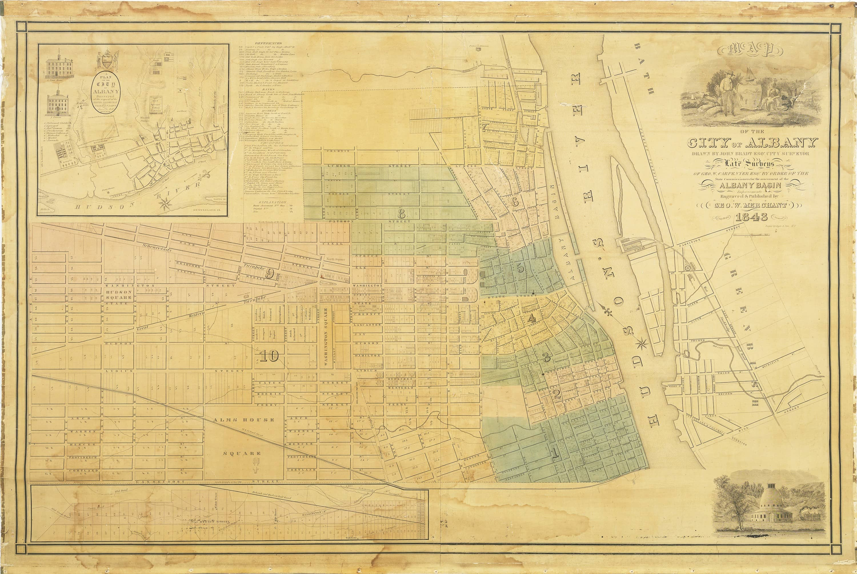 An early wall map of Albany, New York - Rare & Antique Maps on map of crabtree, map of foxborough, map of hubbard, map of marylhurst university, map of south west western australia, map of glen echo, map of oregon, map of crandall, map of girard, map of spencerport, map of browns island, map of buffalo, map of brookings, map of new york state, map of crane, map of otto, map of dormansville, map of woodbourne, map of new york city, map of georgia,