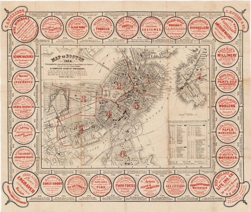 Charming guide map of Boston