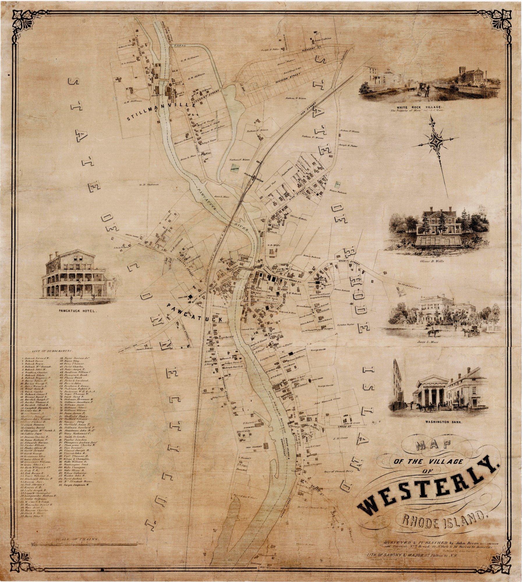 An extraordinarily rare map of Westerly Rhode Island Rare