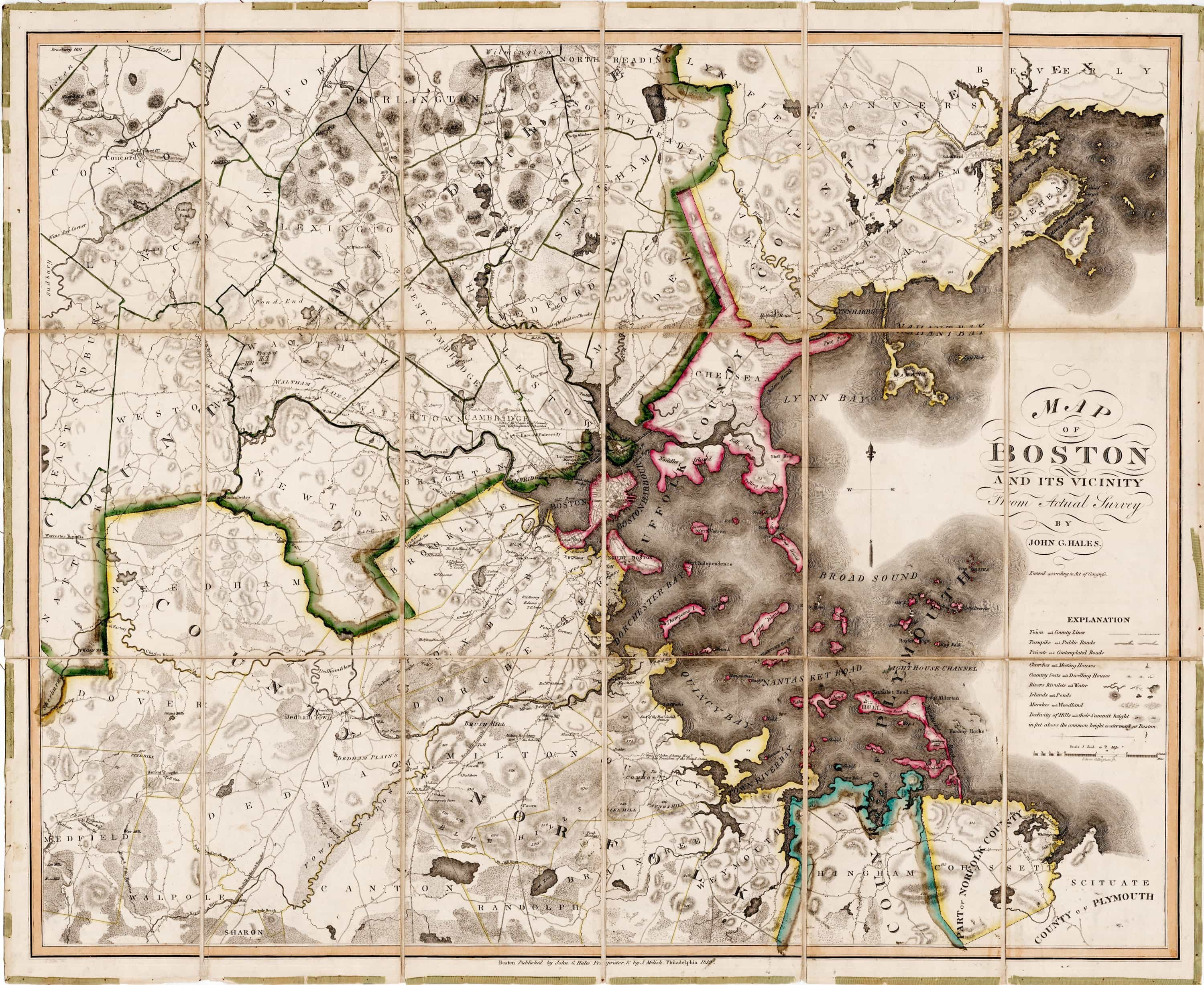 Landmark map of the Greater Boston area Rare Antique Maps