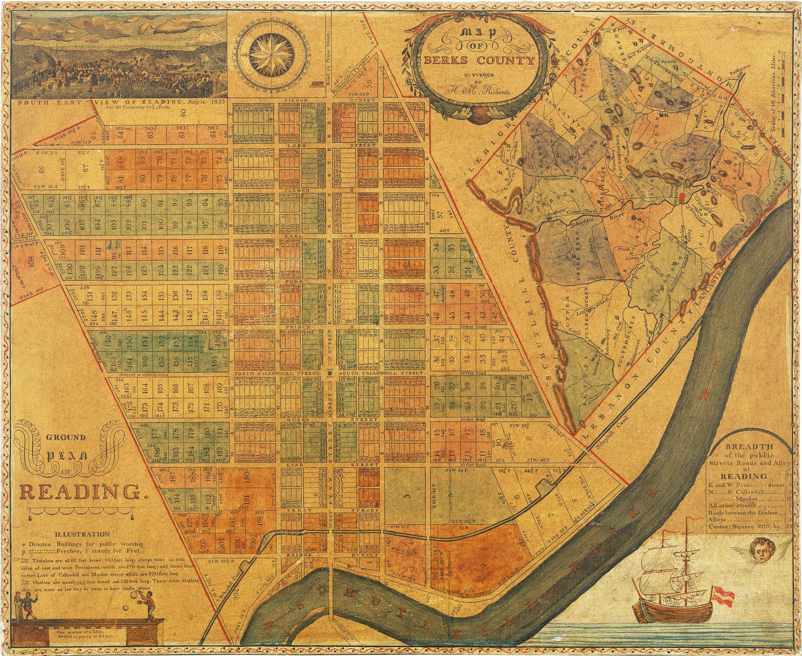 Early map of Reading Pennsylvania with wonderful folk art