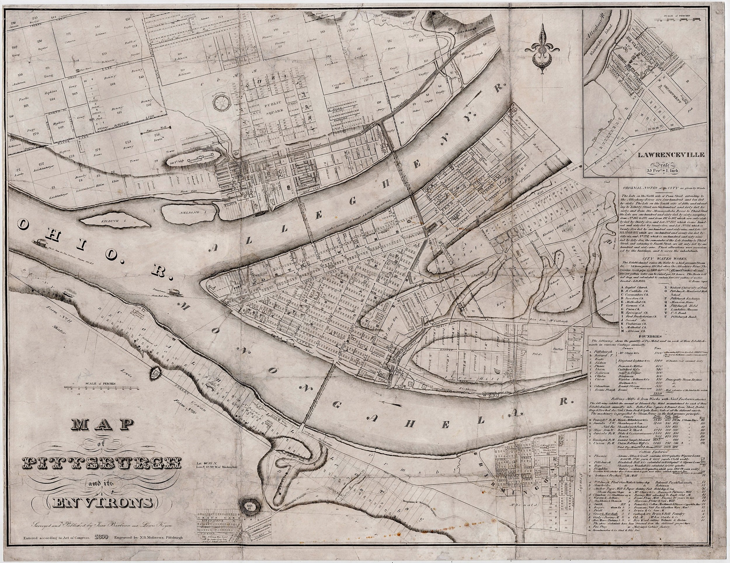 Very rare and early map of Pittsburgh Rare Antique Maps