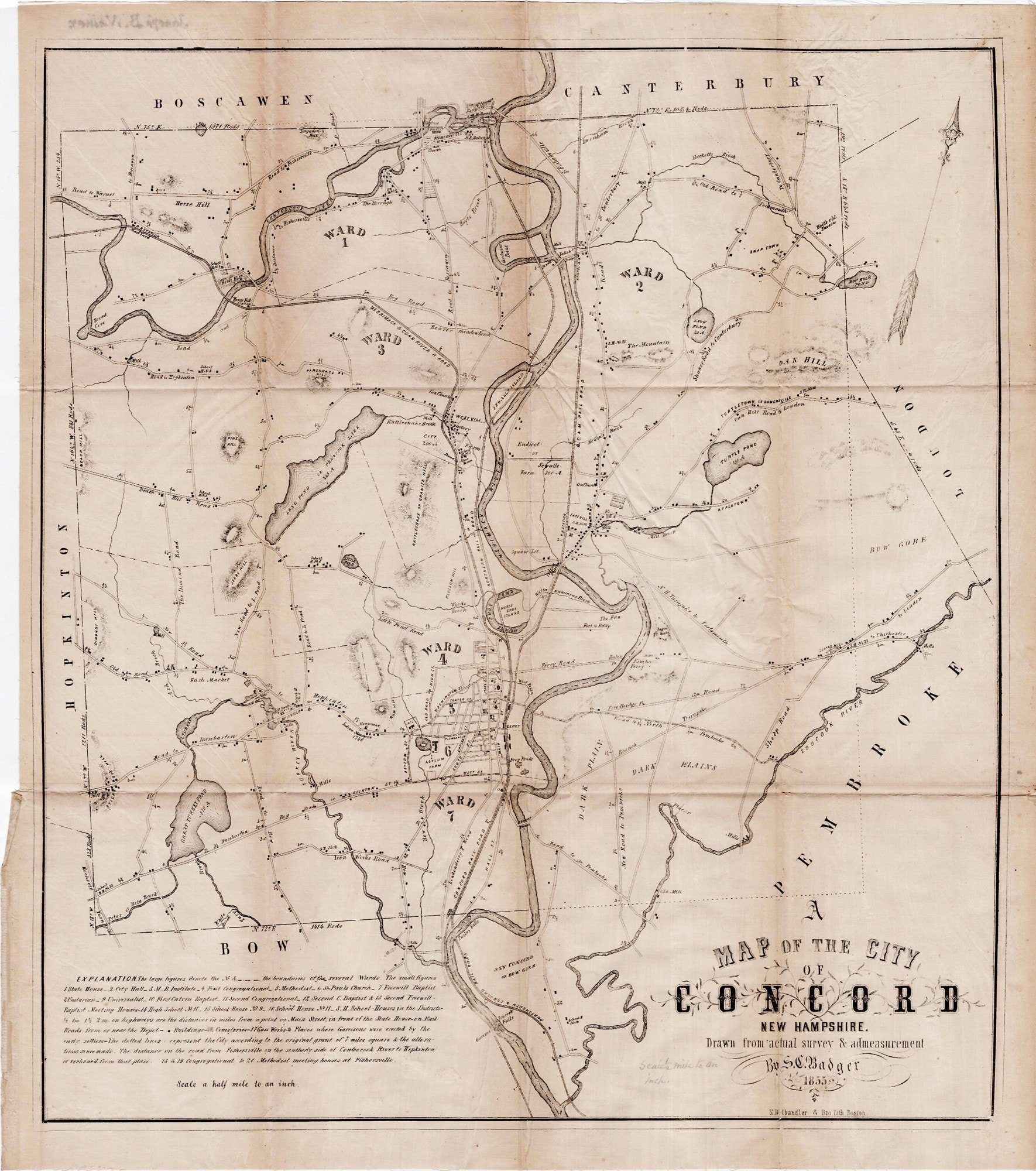 Early map of Concord, New Hampshire - Rare & Antique Maps