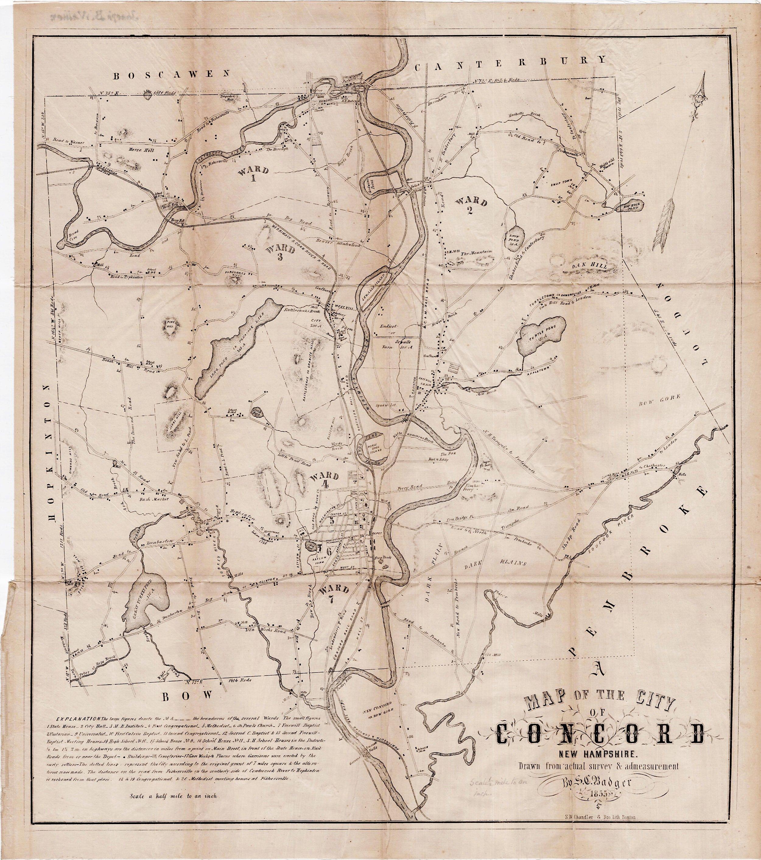 City map Concord New Hampshire