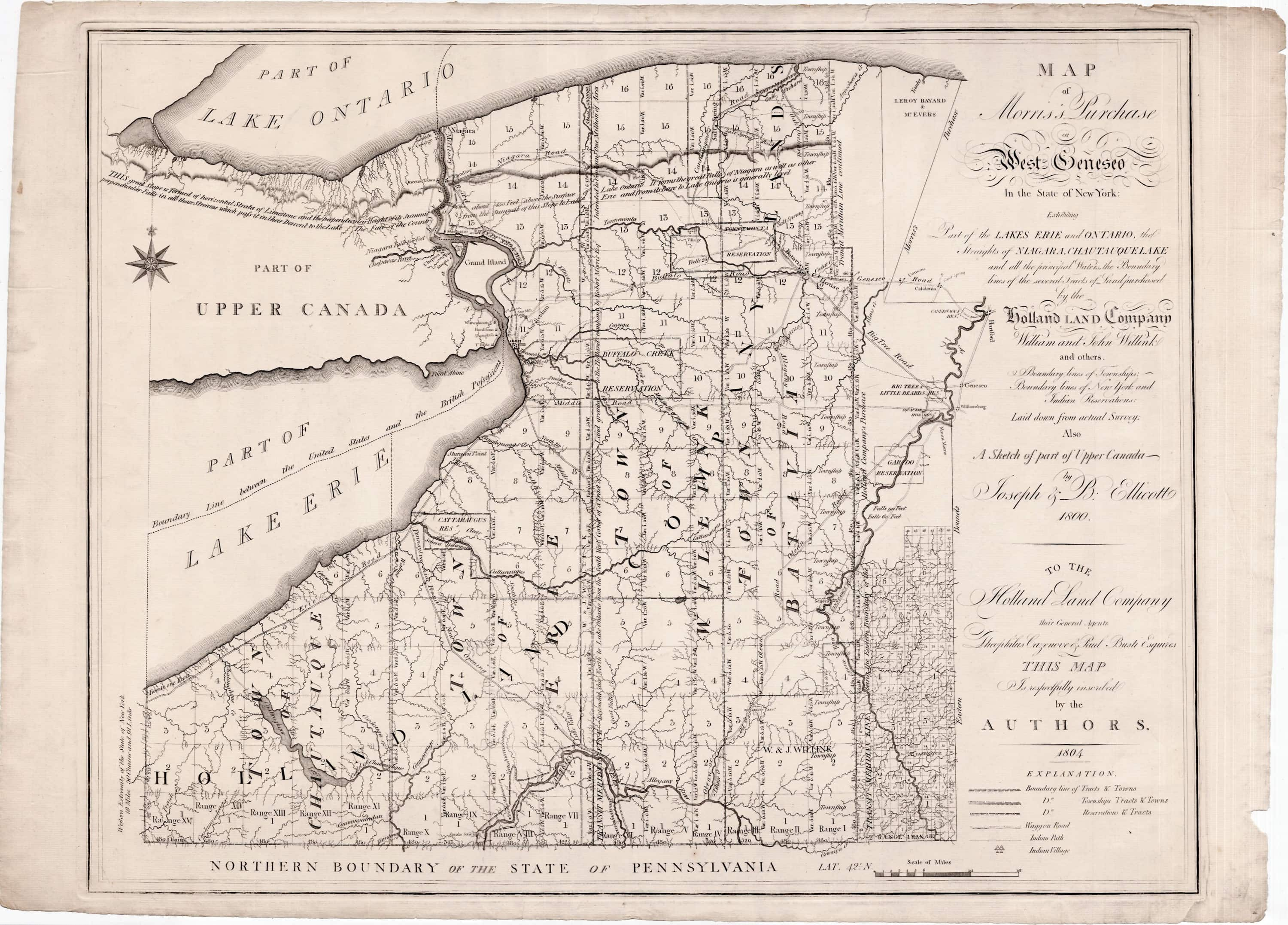 Ellicotts Map Of The Holland Land Company Purchase In New York - Where to buy antique maps