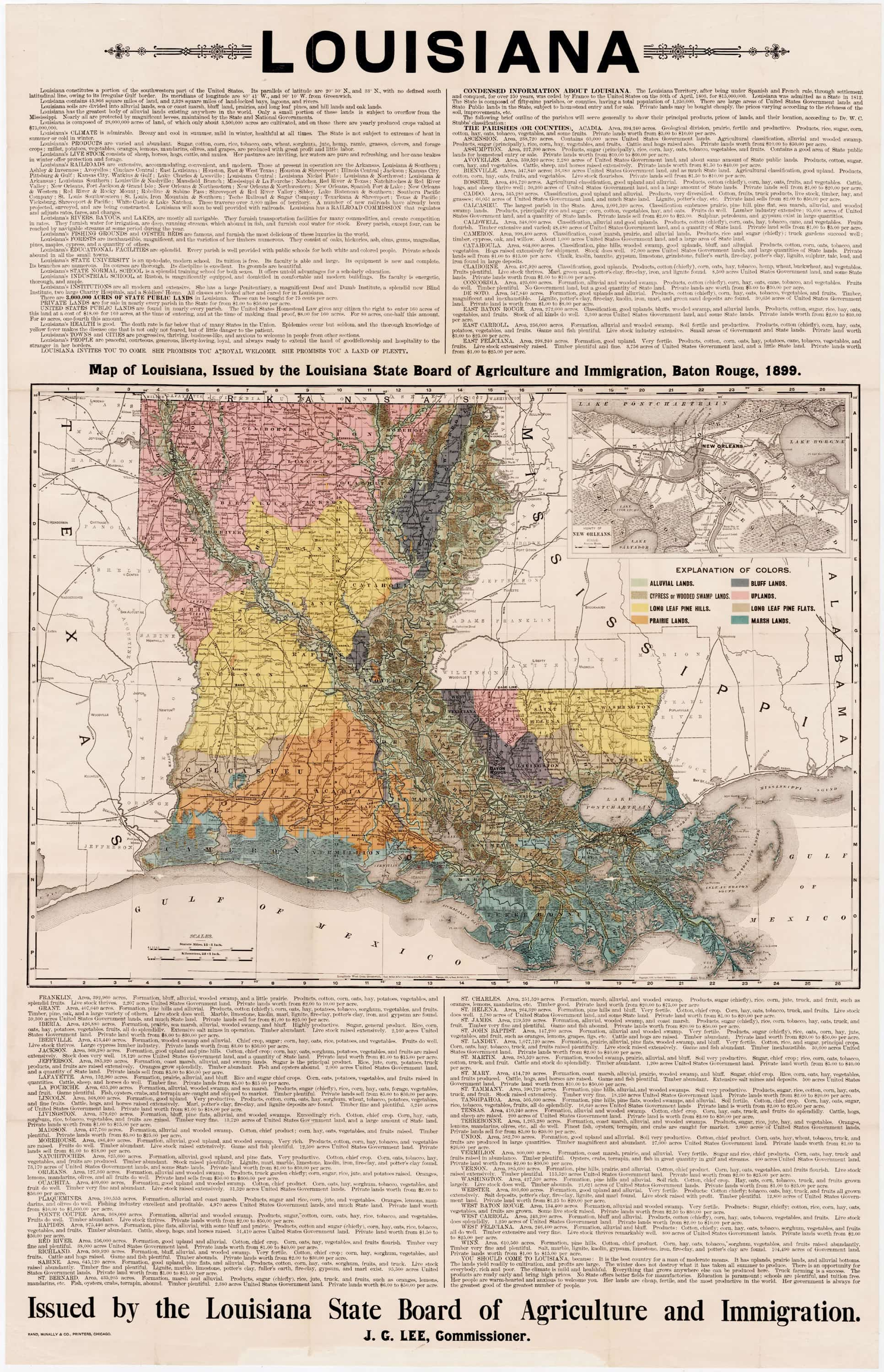 Thematic map promoting Louisiana agriculture Rare Antique Maps