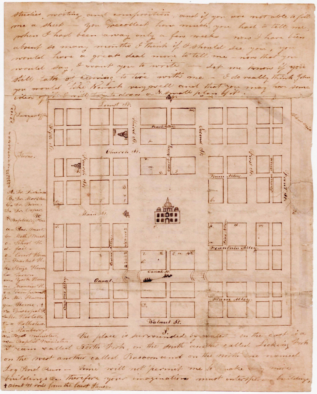 Antique Ohio Map.Manuscript Map Of Newark Ohio Rare Antique Maps
