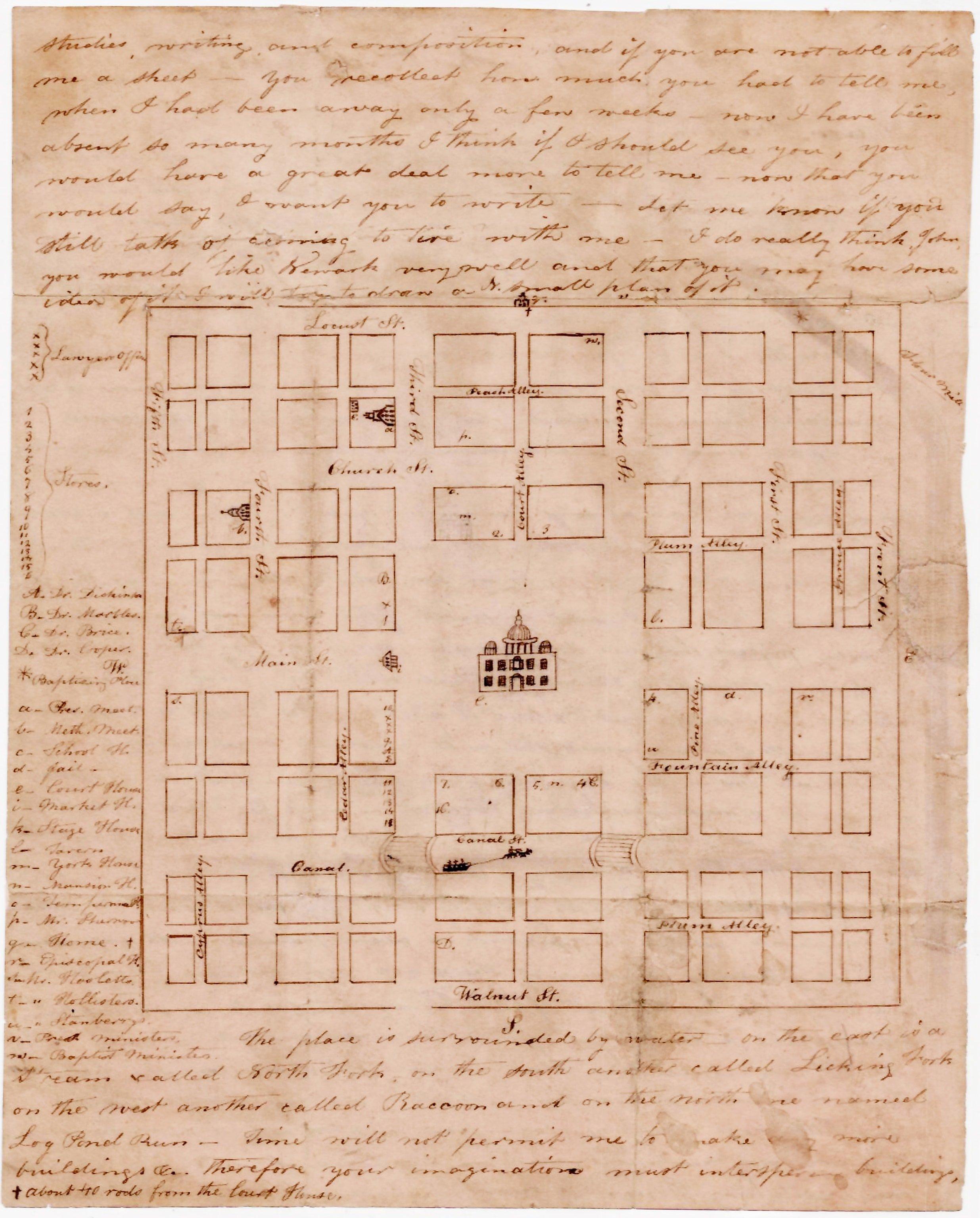 Manuscript Map Of Newark Ohio Rare Antique Maps
