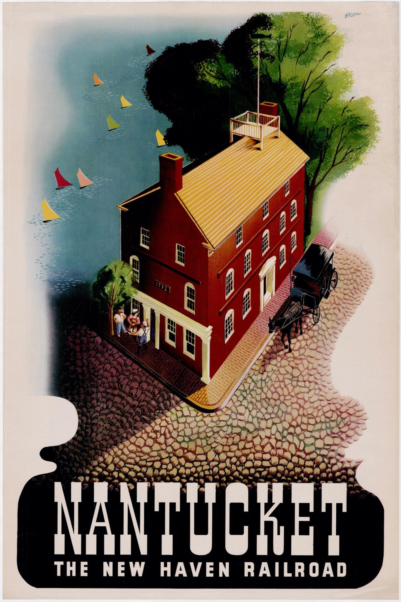 Ben Nason poster promoting travel to Nantucket - Rare & Antique Maps