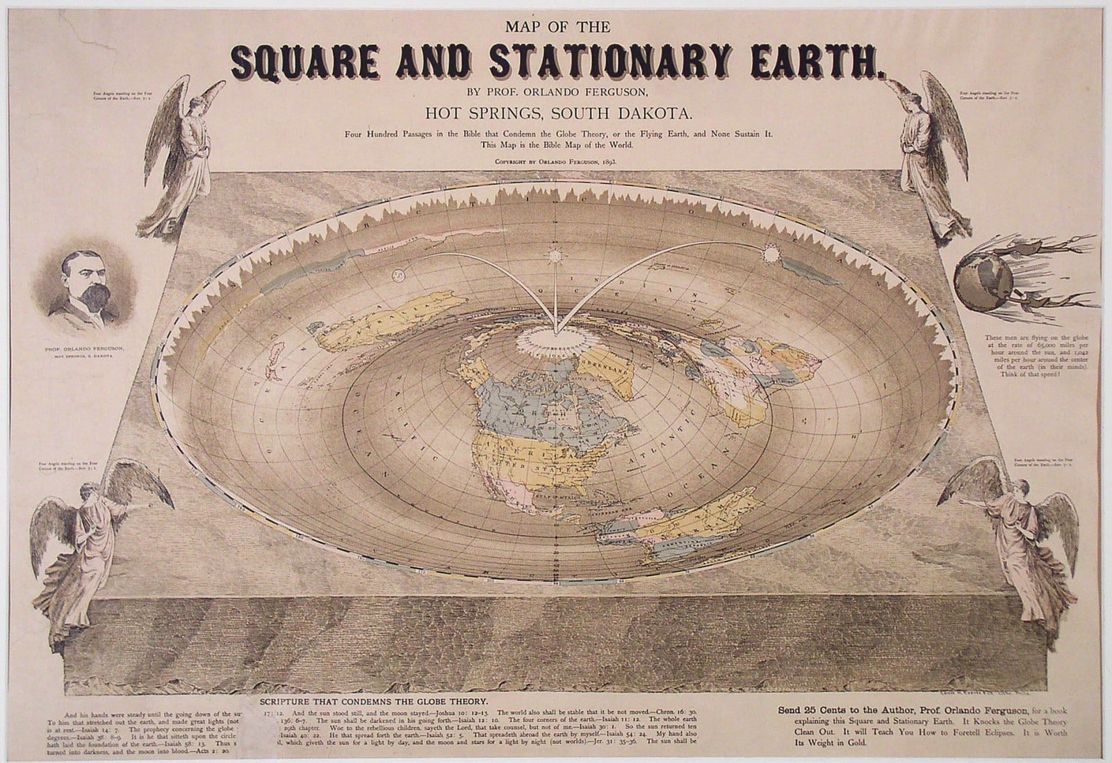 The Square And Stationary Earth Rare Antique Maps