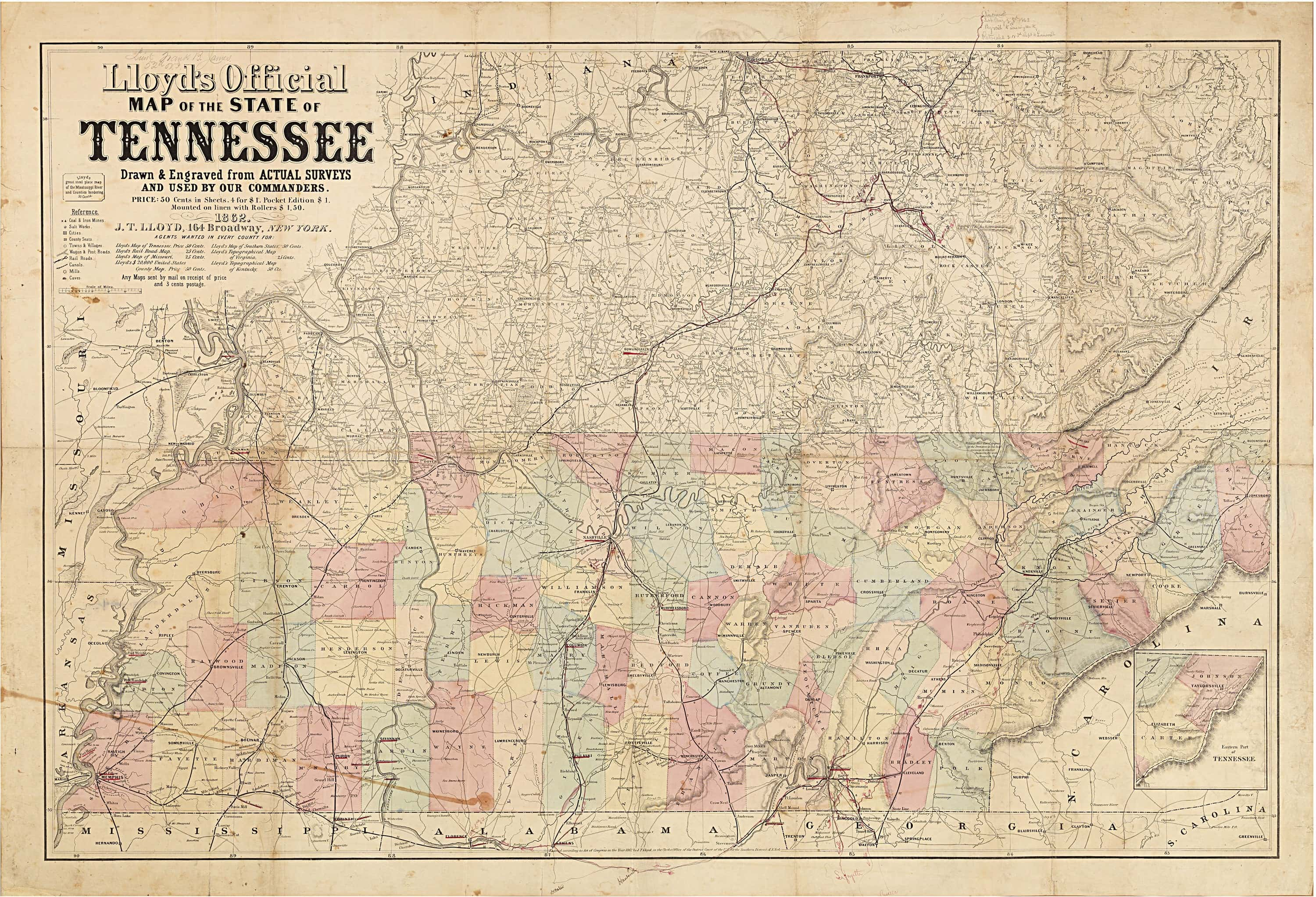 Important Civil Warera Maps Of Tennessee And Georgia With Unique - Tennessee waterways map