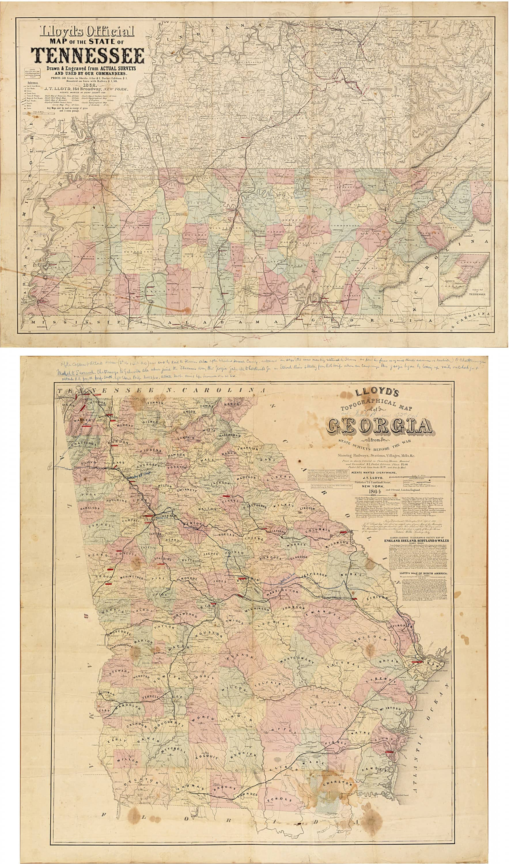 Important Civil Warera Maps Of Tennessee And Georgia, With Unique  Manuscript Additions By A Union Officer