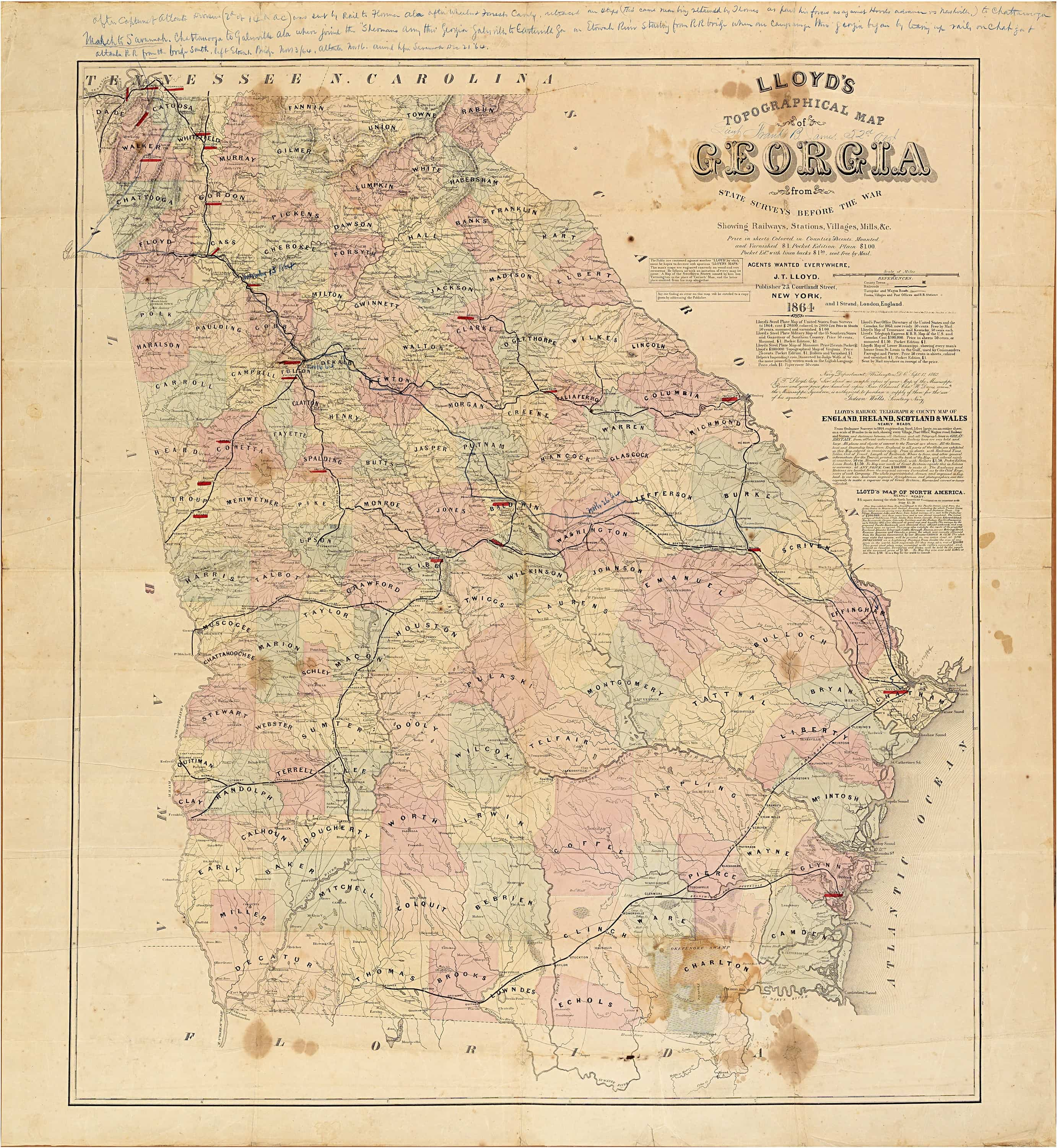 Important Civil Warera Maps Of Tennessee And Georgia With Unique - Map of atlanta civil war