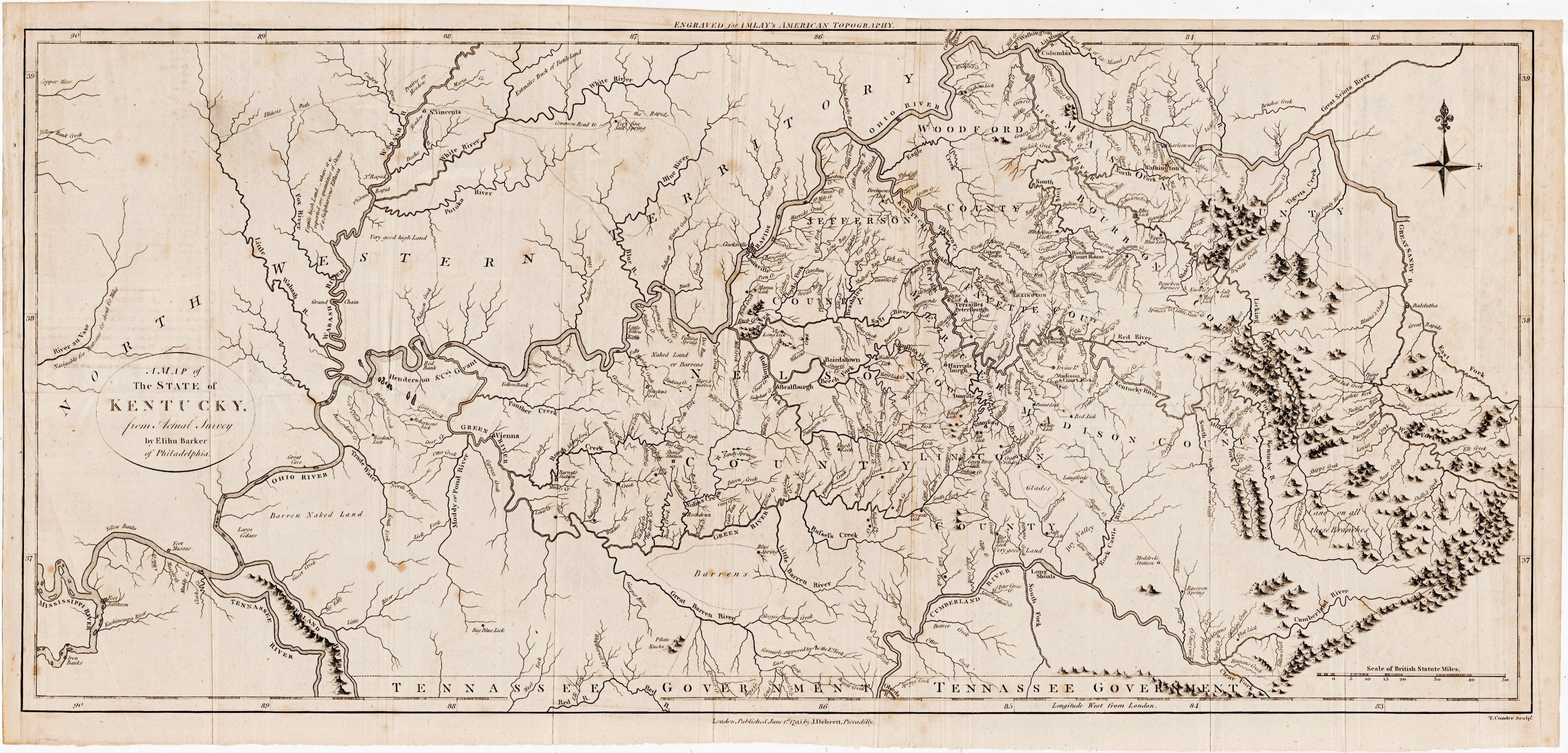 An excellent early map of Kentucky - Rare & Antique Maps
