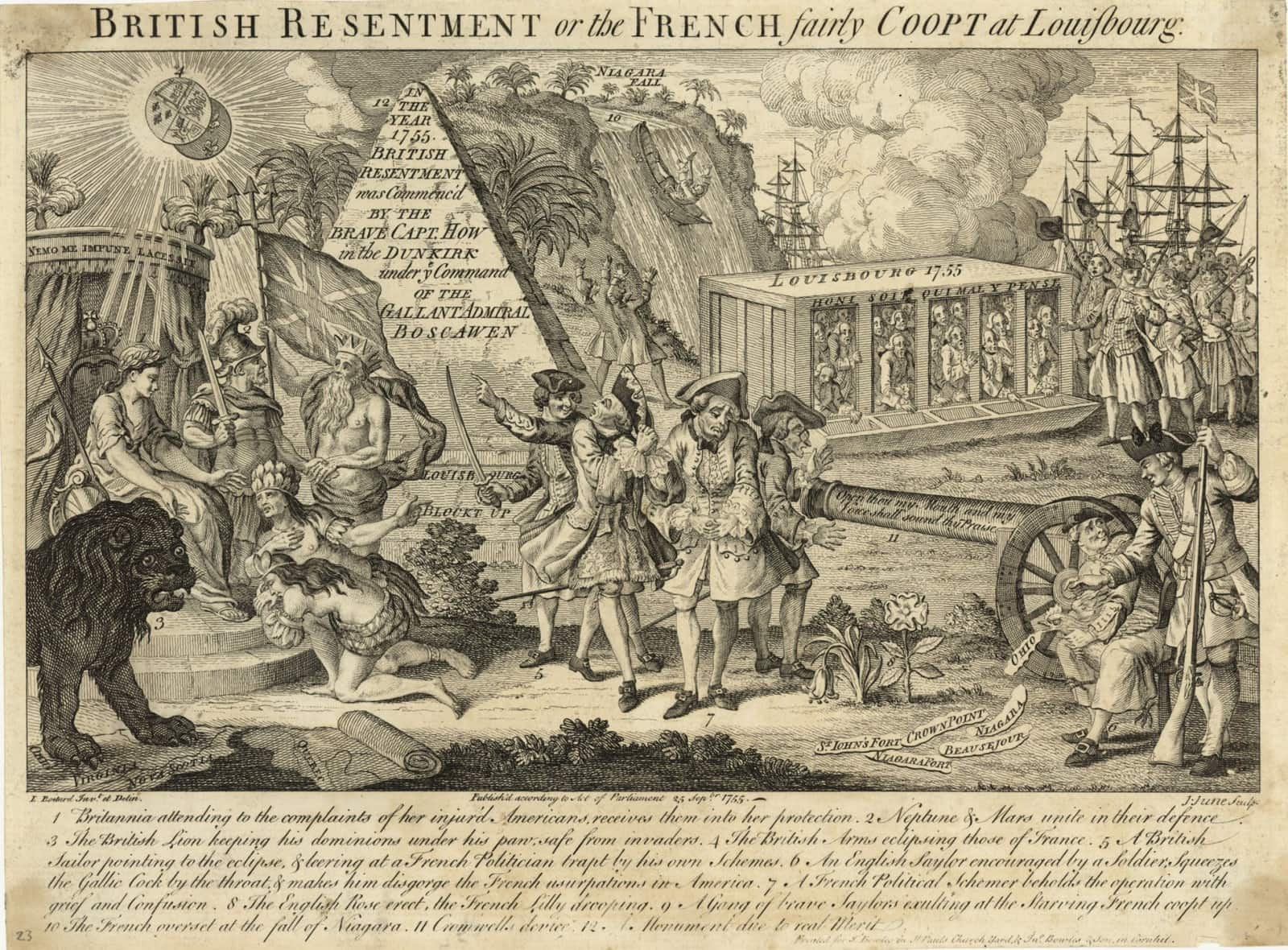 Rare French And Indian War Cartoon Rare Antique Maps