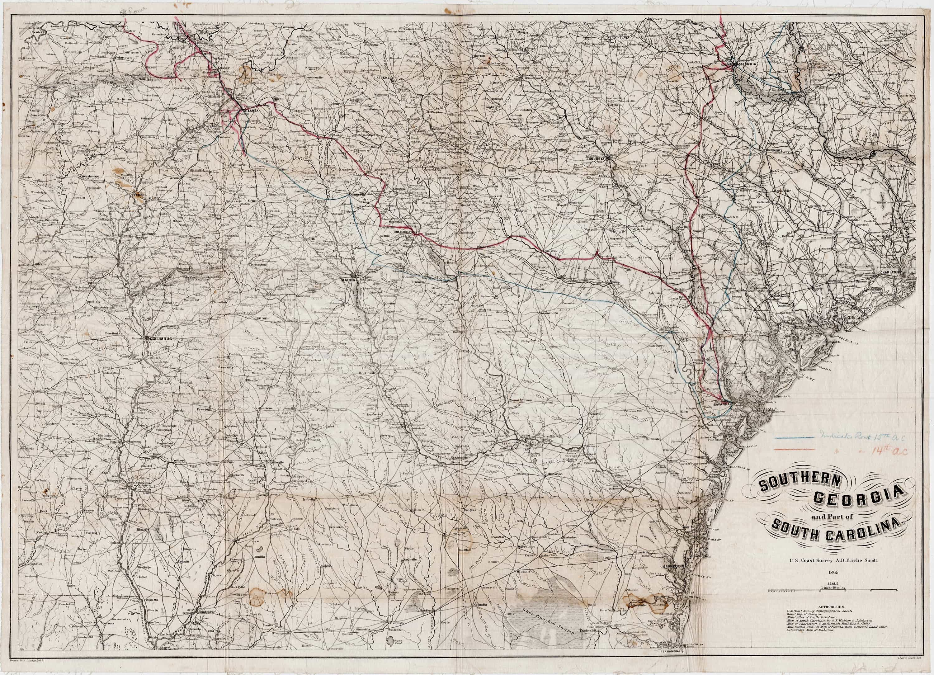 Exceptional Civil War Map Printed On Silk And Handannotated - Map of atlanta civil war