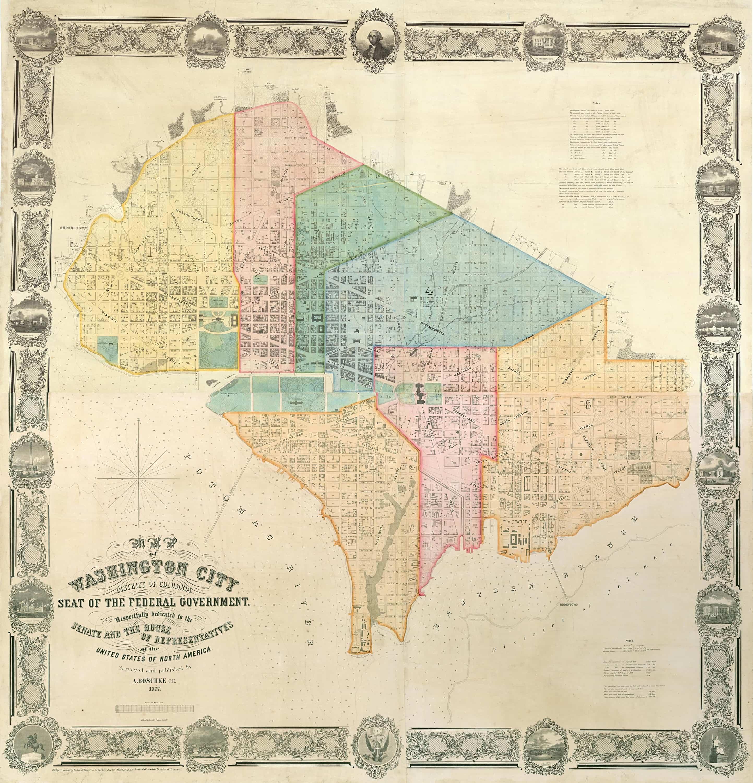 Albert Boschke antique map of Washington, D.C.