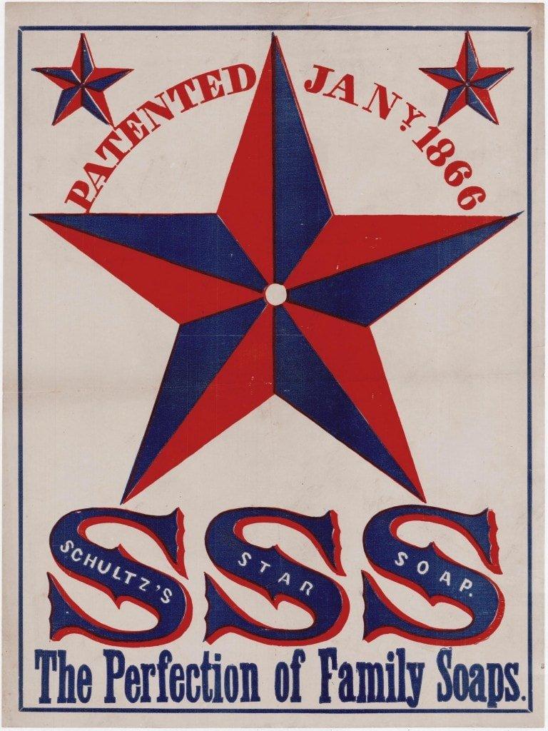 "Patriotic advertisement for ""Schultz's Star Soap"""
