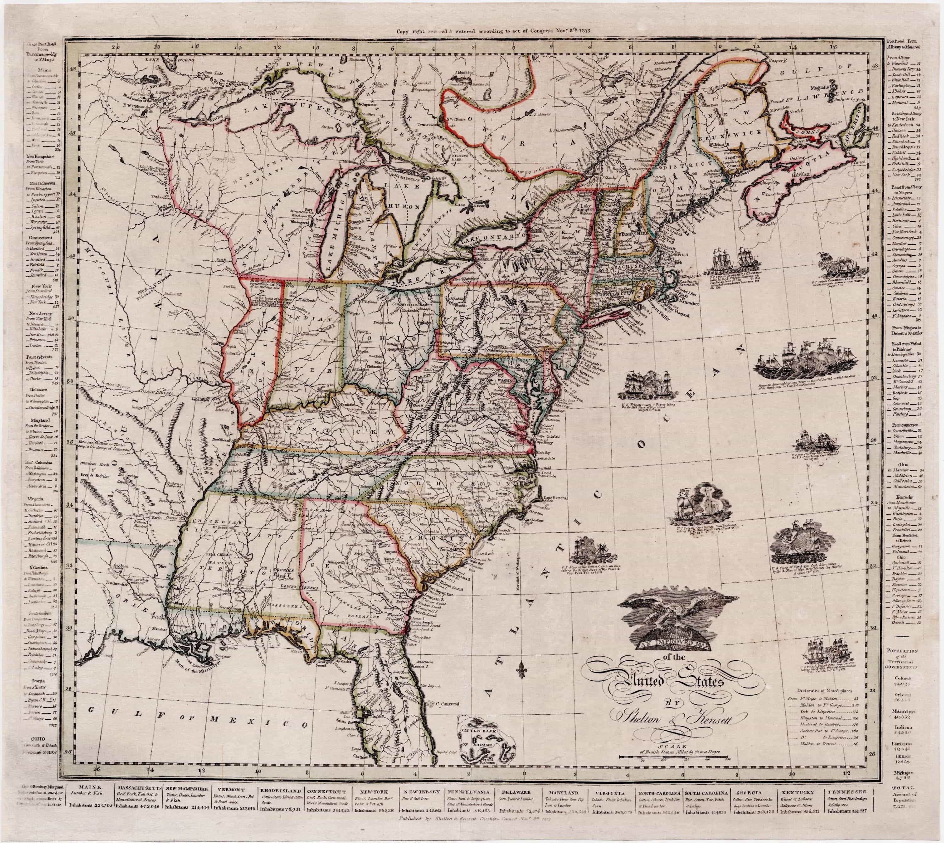 Patriotic Improved Map Of The United States From The War Of 1812