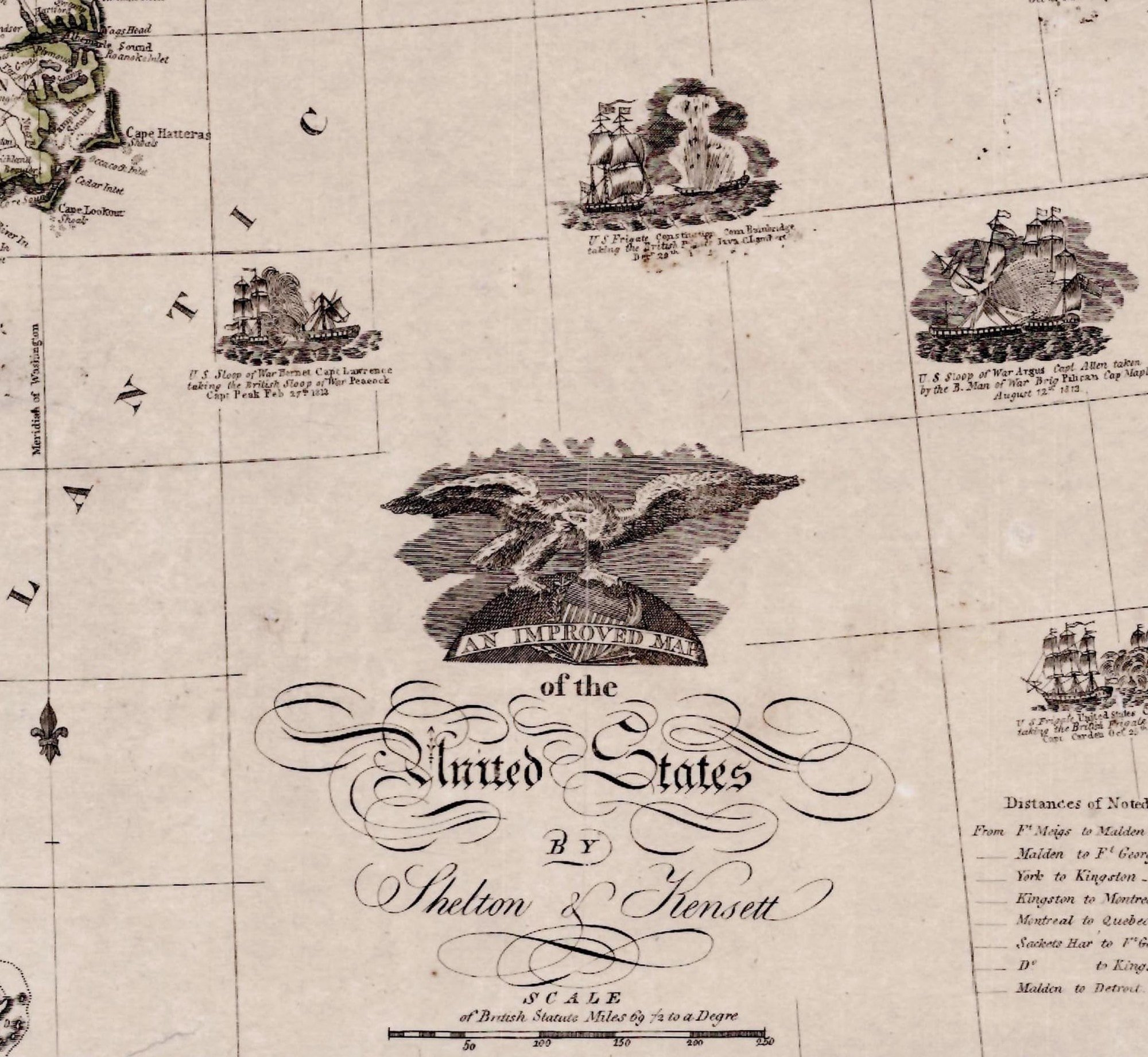 Patriotic Improved Map Of The United States From The War Of 1812 - Us-map-1812