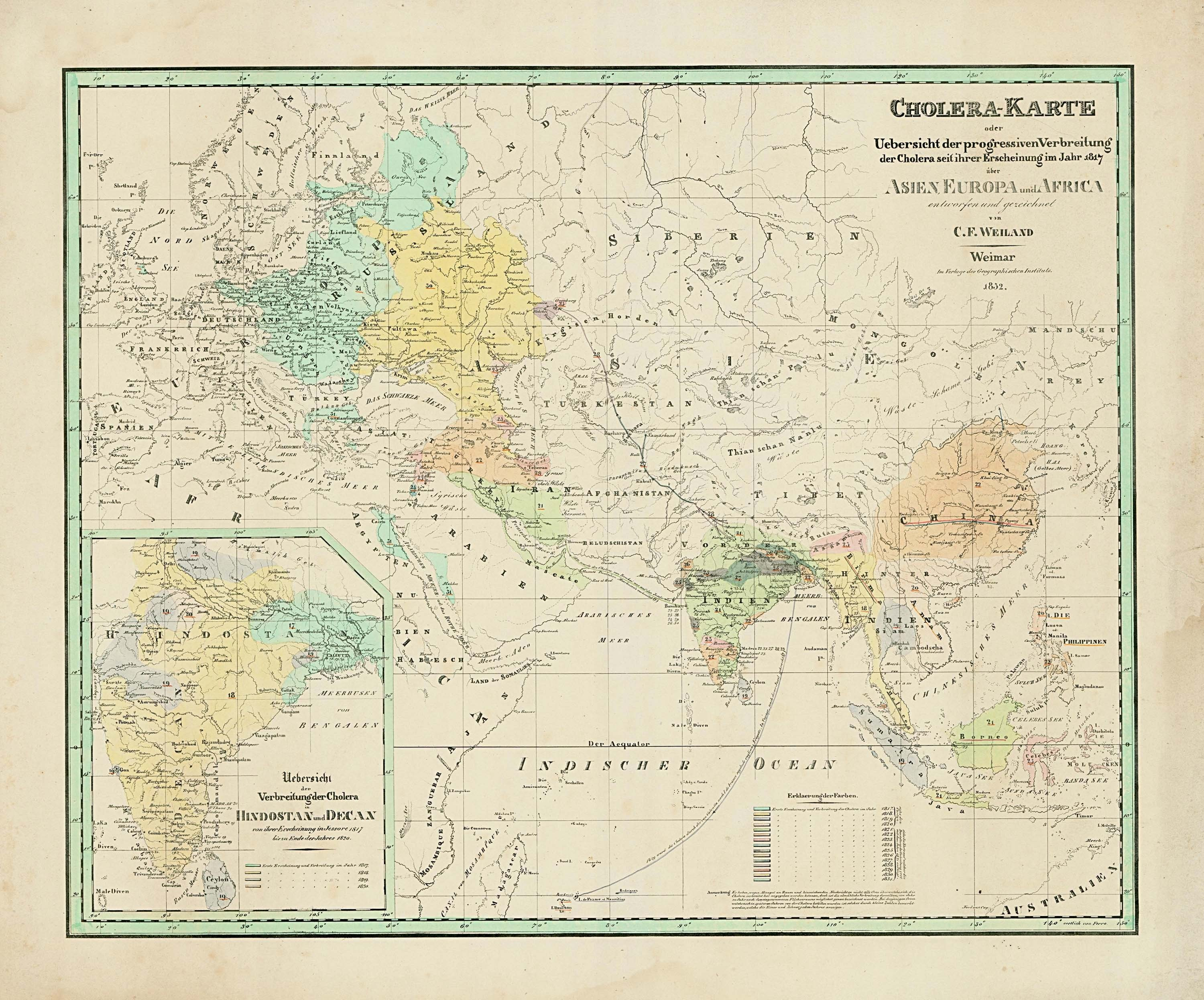Rare cholera map of the first and second Pandemics - Rare