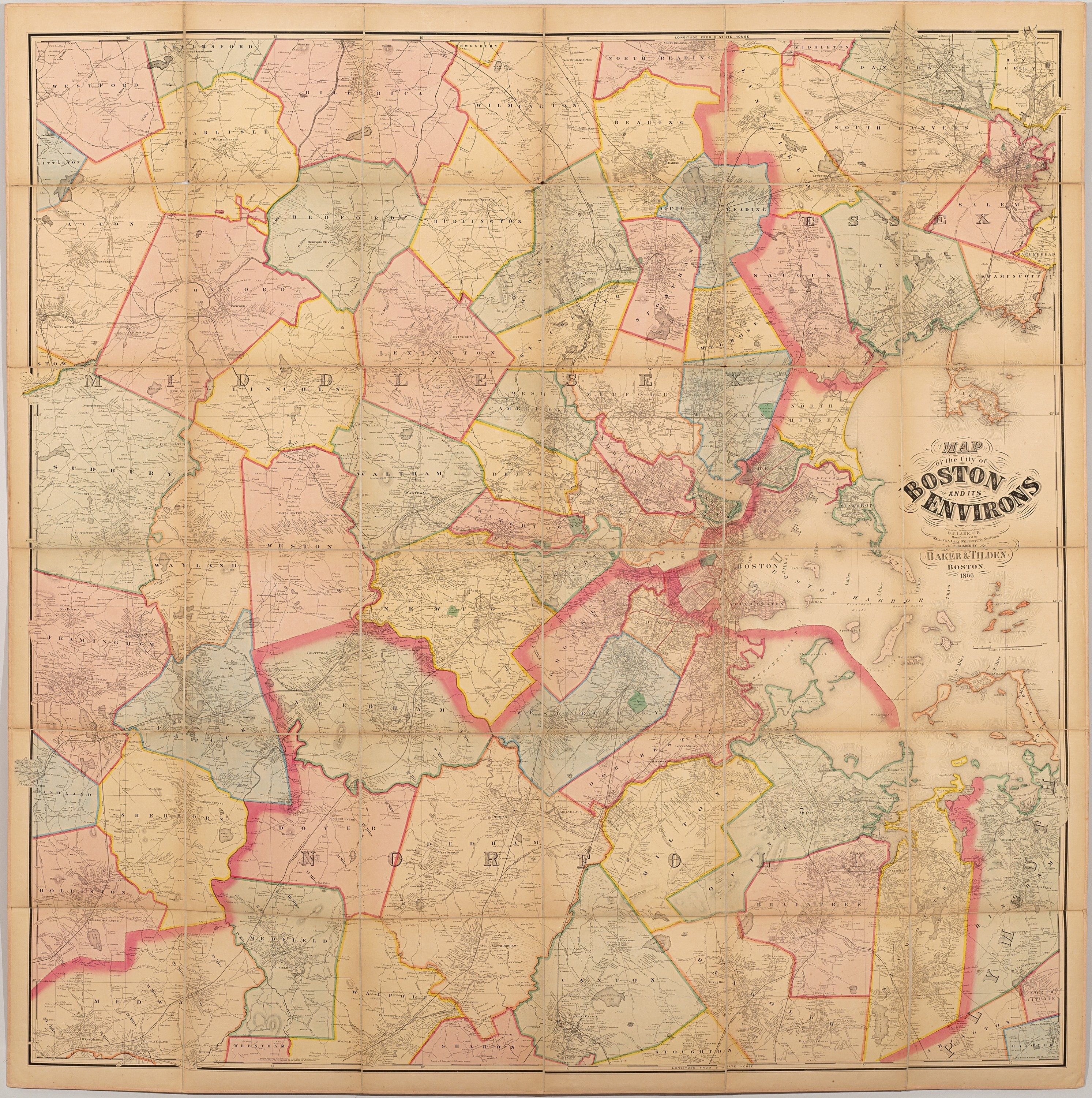 Henry F Walling map of the Greater Boston area Rare Antique Maps