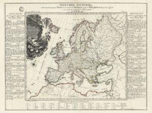 A[ugust] F[riedrich] W[ilhelm] Crome / F.A. Pingeling Sculpsit Hamburg, NEUE CARTE VON EUROPA welch die merkwürdigsten Producte und vernehmsten Handelsplätze dem Flächen-Inhalt aller Europäischen Länder…. Dessau, 1782.