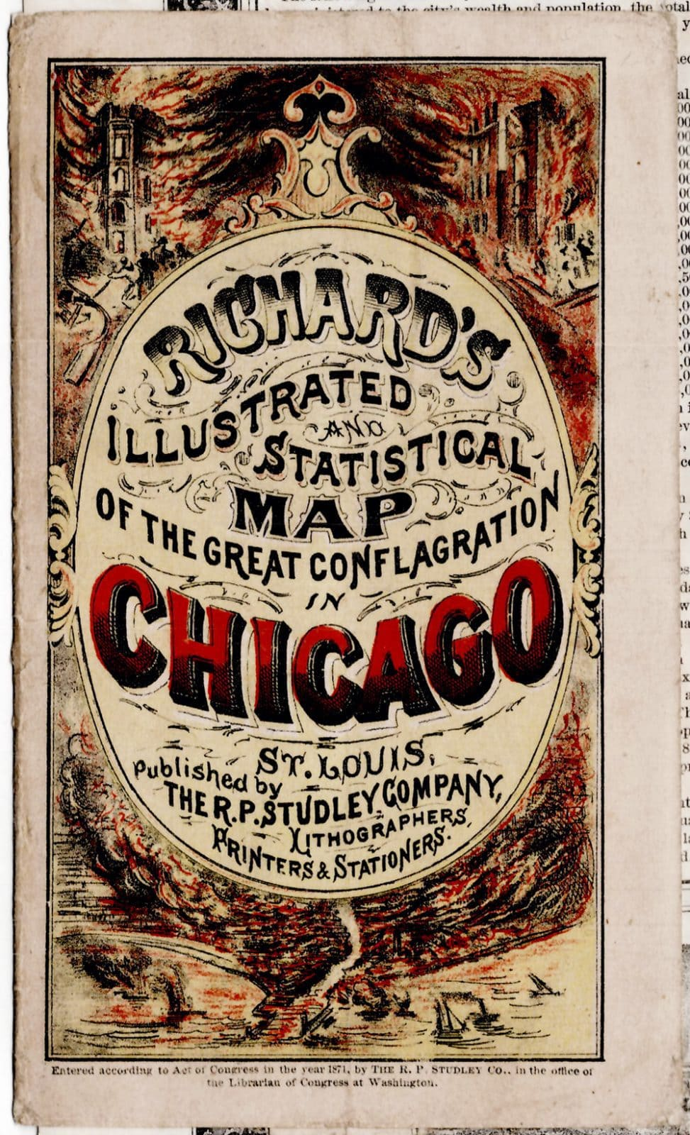 Amazing Illustrated Map Of The Chicago Fire Rare  Antique Maps - Chicago fire map