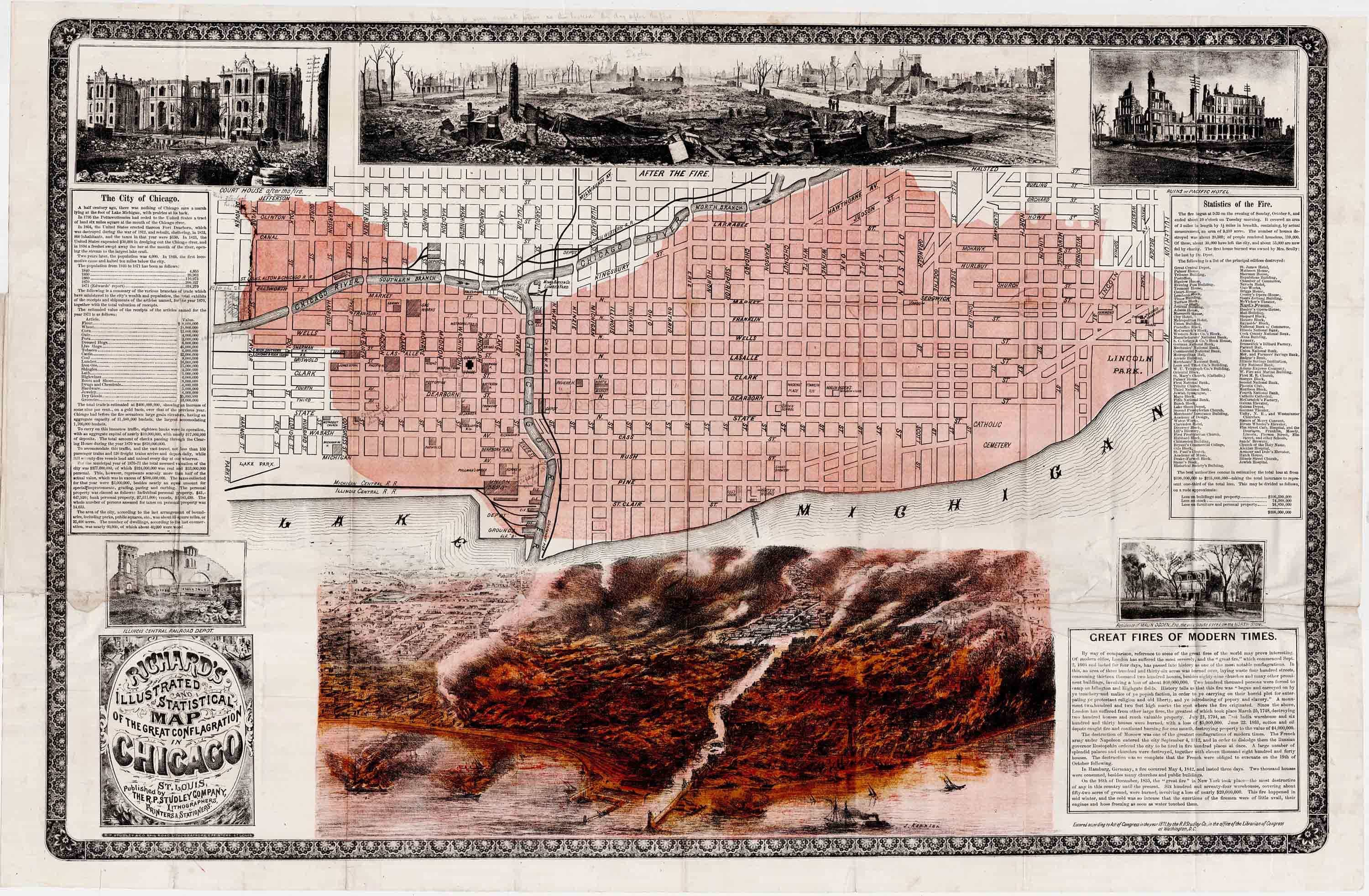 Amazing illustrated map of the Chicago Fire - Rare & Antique Maps