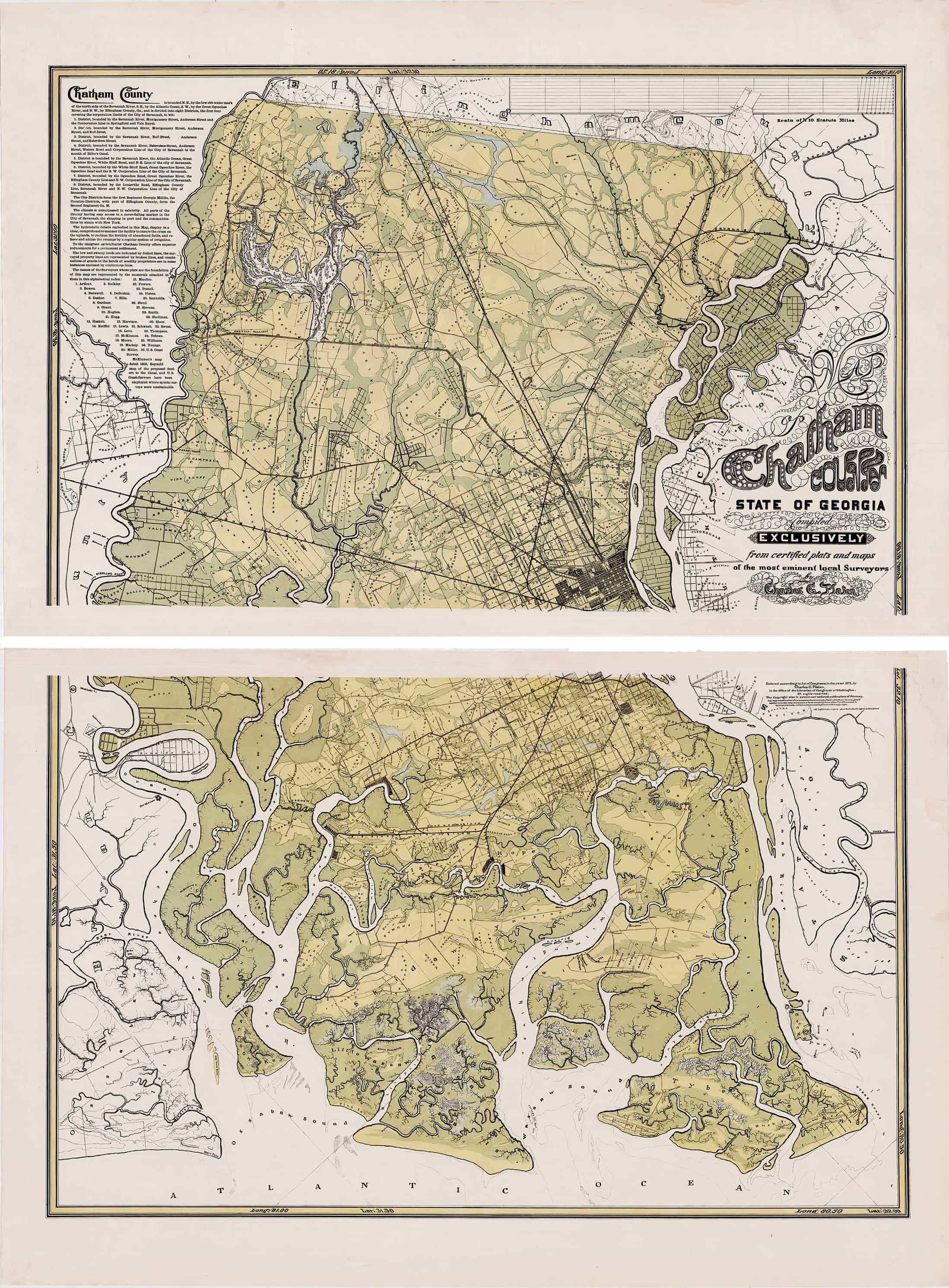 A Rare And Impressive Map Of Chatham County Georgia
